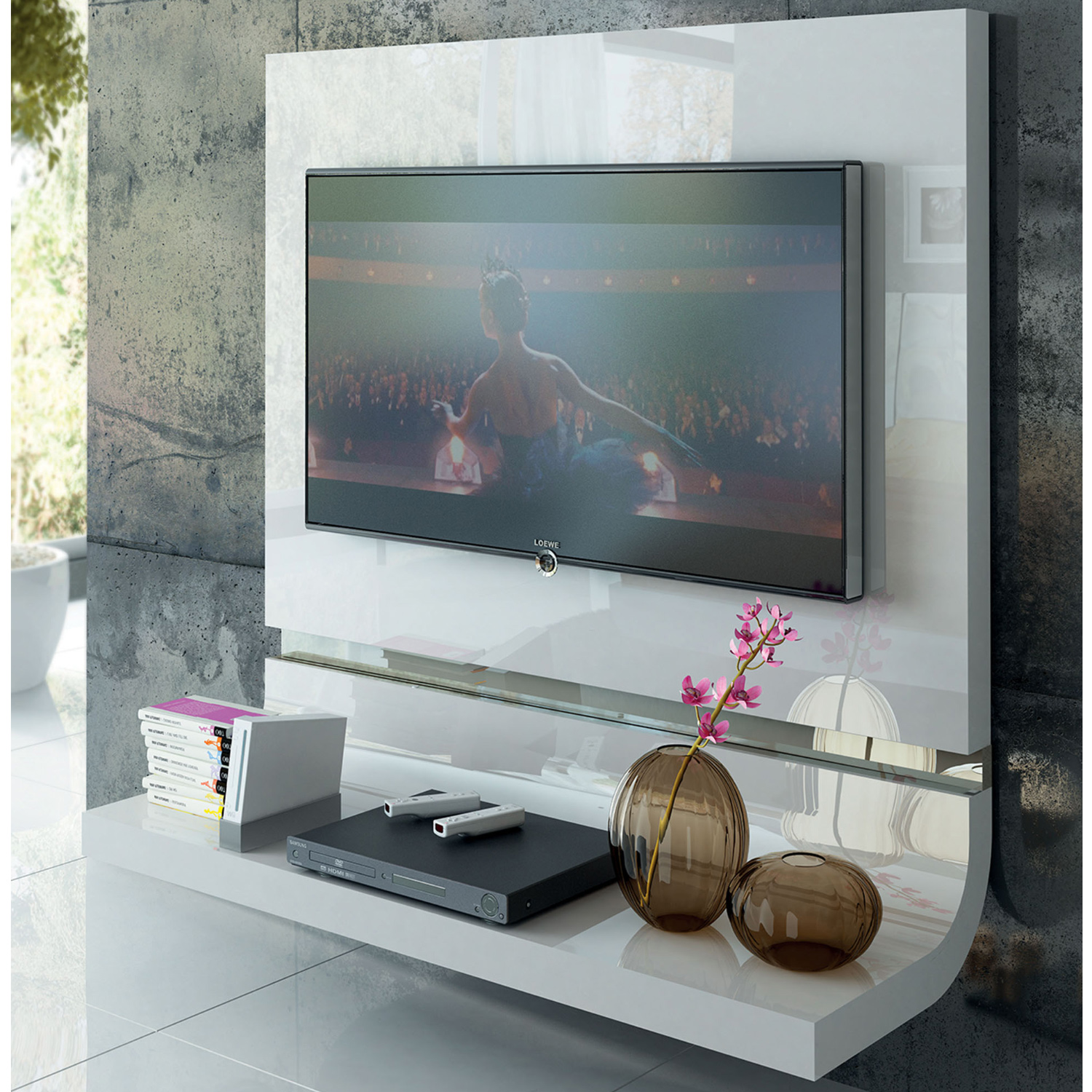 Granada Tv Wall Panel In High Gloss White Arena By Esf Furniture Imports