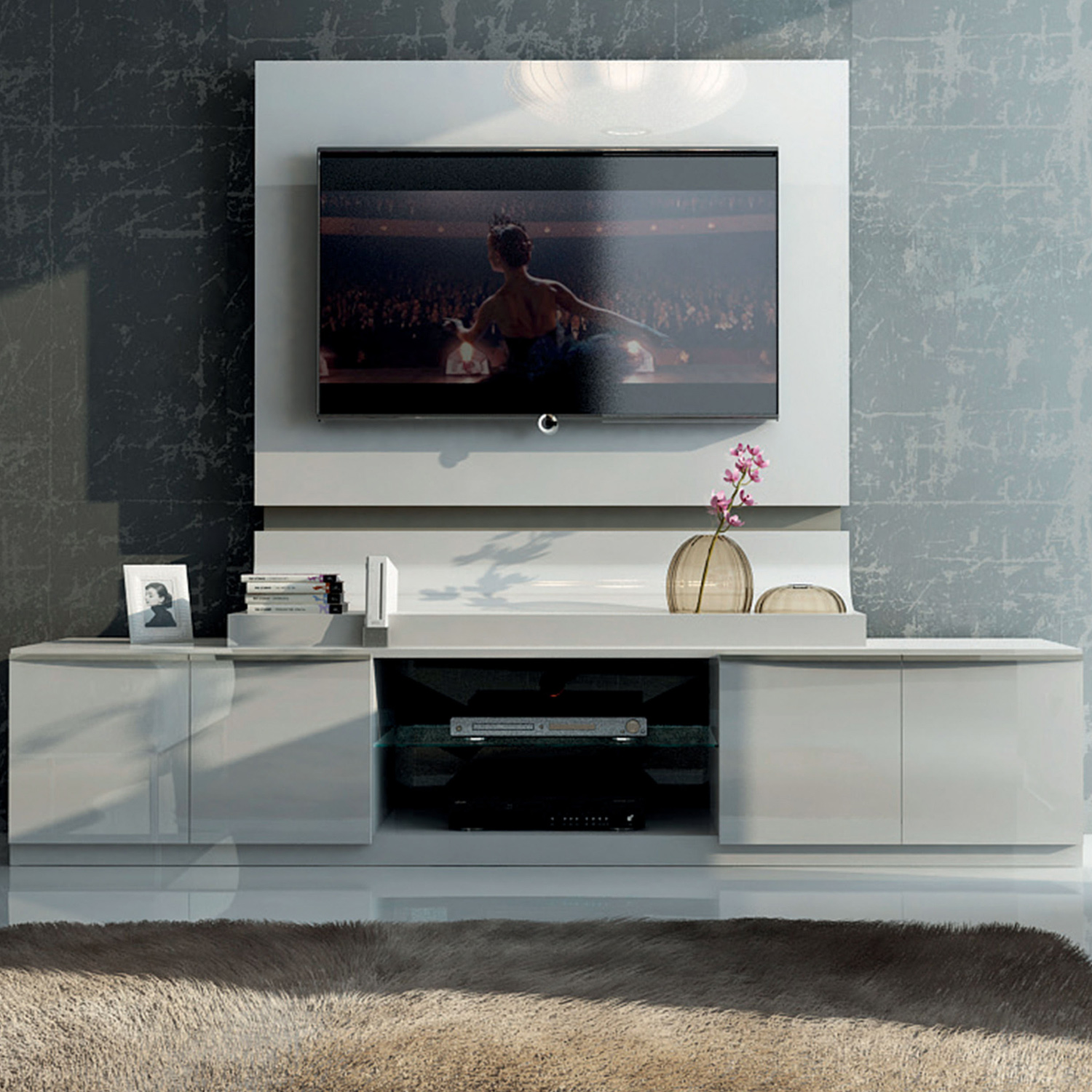 Granada Tv Stand Wall Panel In High Gloss White Arena By Esf Furniture Imports