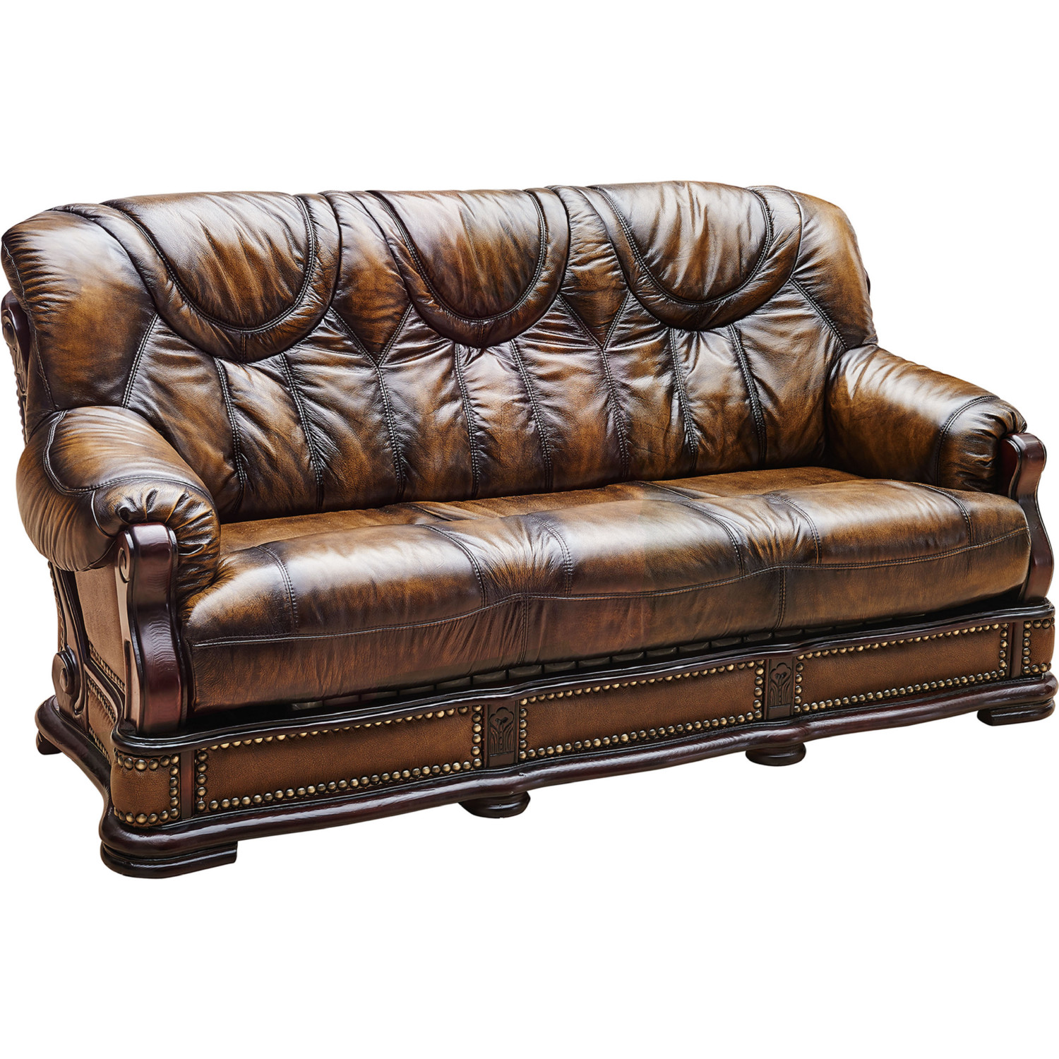 Oakman Sofa w/ Bed in Italian Leather w/ Nailhead by ESF Furniture Imports