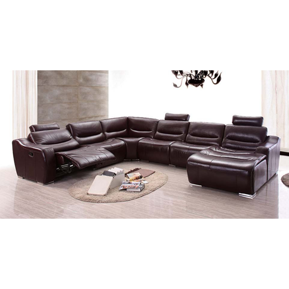 Enjoyable 2144 Sectional Sofa W Right Chaise Left Recliner In Brown Leather By Esf Furniture Imports Pabps2019 Chair Design Images Pabps2019Com