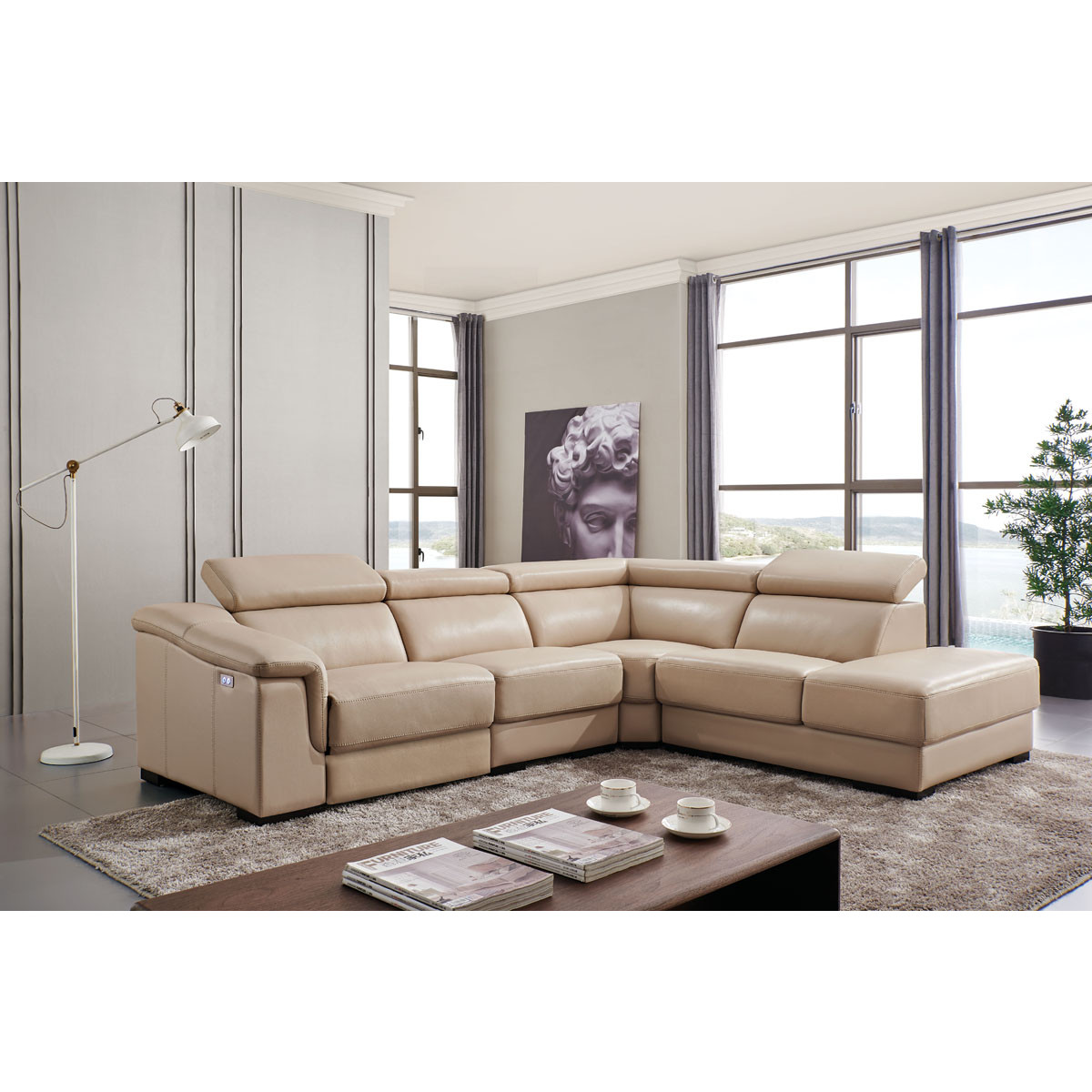 760 Sectional Sofa w/ Right Chaise & Left Recliner in Beige Leather by ESF  Furniture Imports