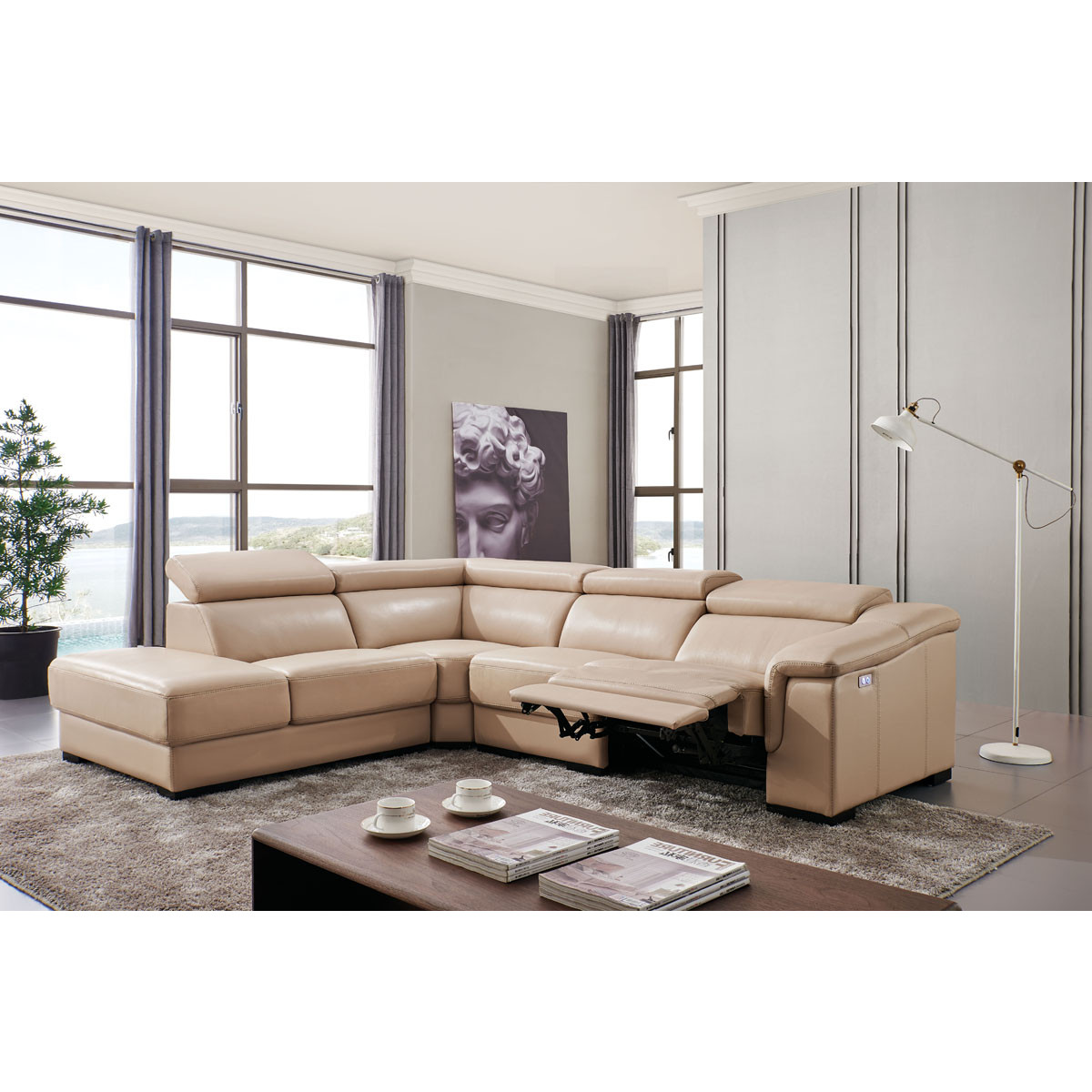 760 Sectional Sofa w/ Left Chaise & Right Recliner in Beige Leather by ESF  Furniture Imports