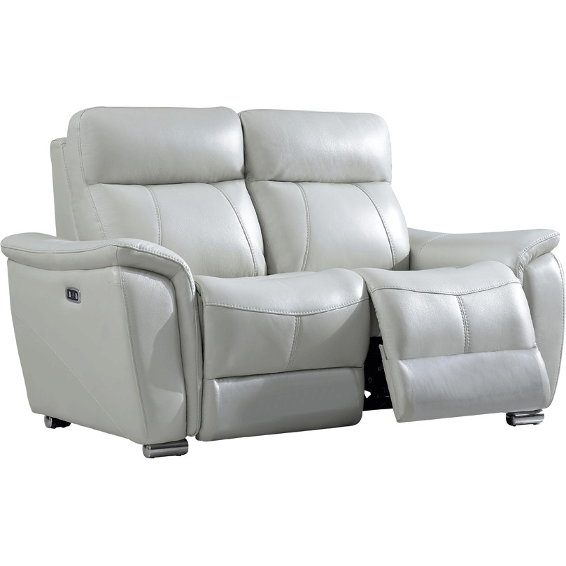 Astounding 1705 Reclining Loveseat In Light Grey Leather By Esf Furniture Imports Andrewgaddart Wooden Chair Designs For Living Room Andrewgaddartcom