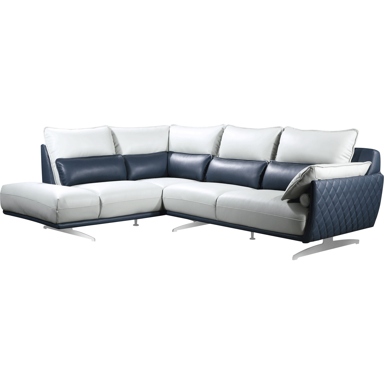 Marvelous 6311 Sectional Sofa W Left Chaise In Light Grey Royal Blue Leather By Esf Furniture Imports Cjindustries Chair Design For Home Cjindustriesco