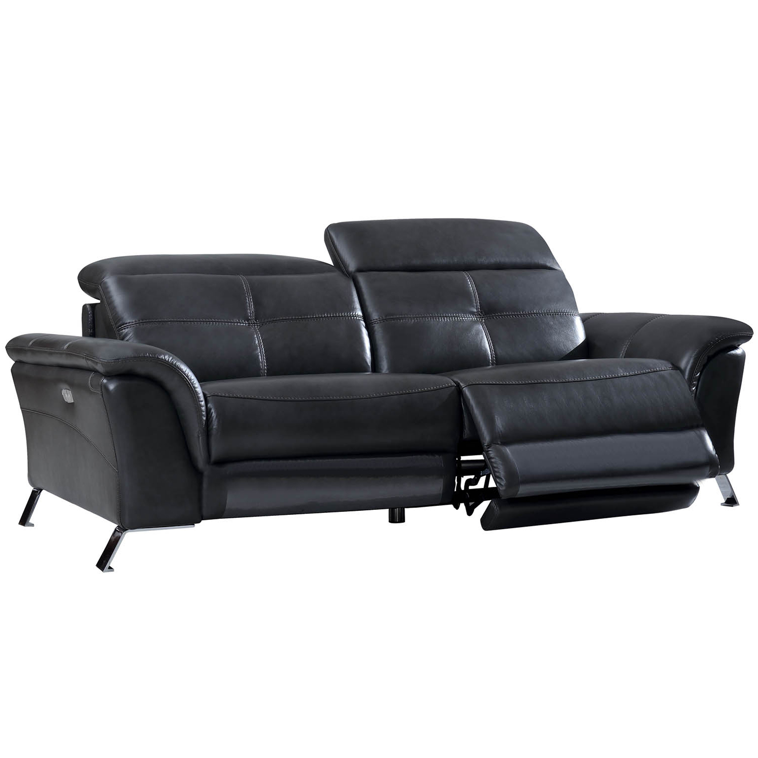 2619 Dual Power Reclining Sofa In Top Grain Dark Grey Leather By Esf Furniture Imports
