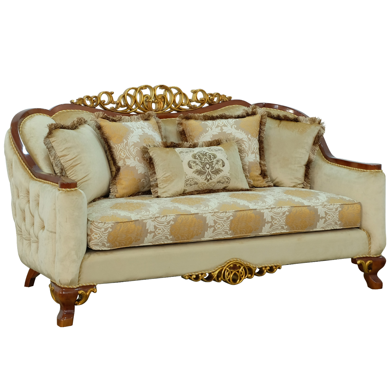 Grand European Luxury Furniture 45354 L Angelica Ii Loveseat In Brown Fabric Mahogany