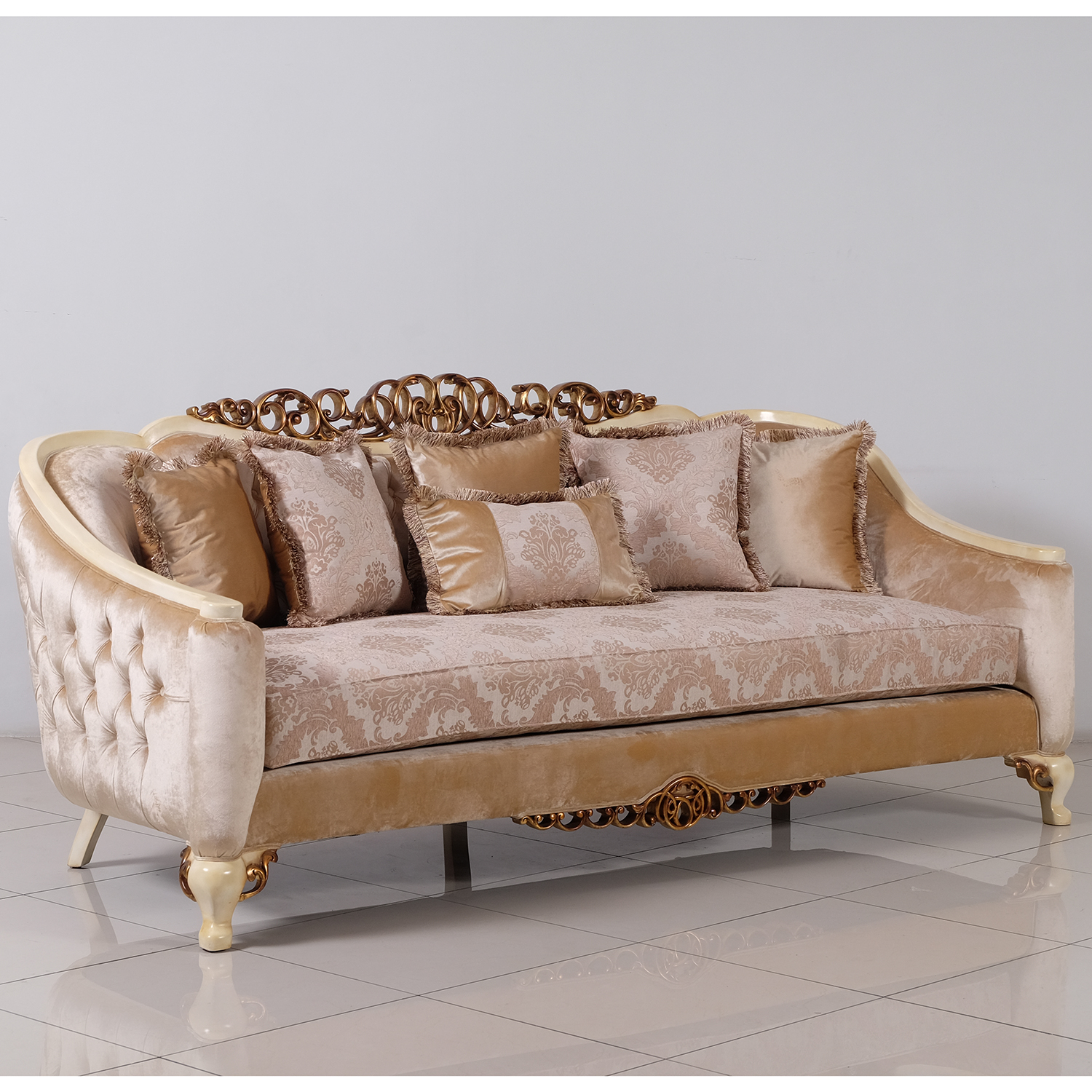 Grand European Luxury Furniture 45350 S Angelica Sofa In Tufted Fabric On Antique Beige Gold Mahogany