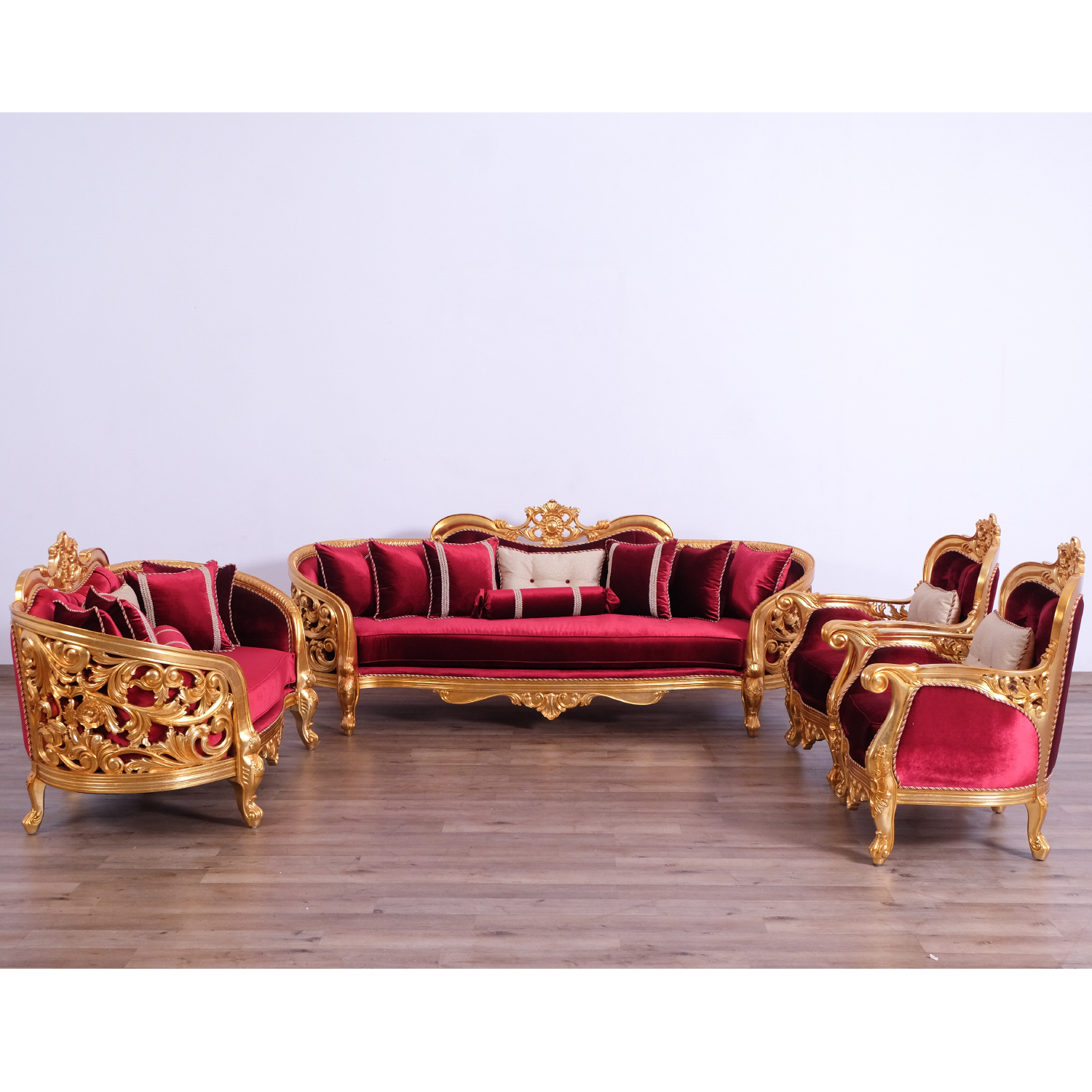 Magnificent Bellagio Ii Sofa In Gold Leaf Mahogany Red Velvet By Grand European Luxury Furniture Machost Co Dining Chair Design Ideas Machostcouk