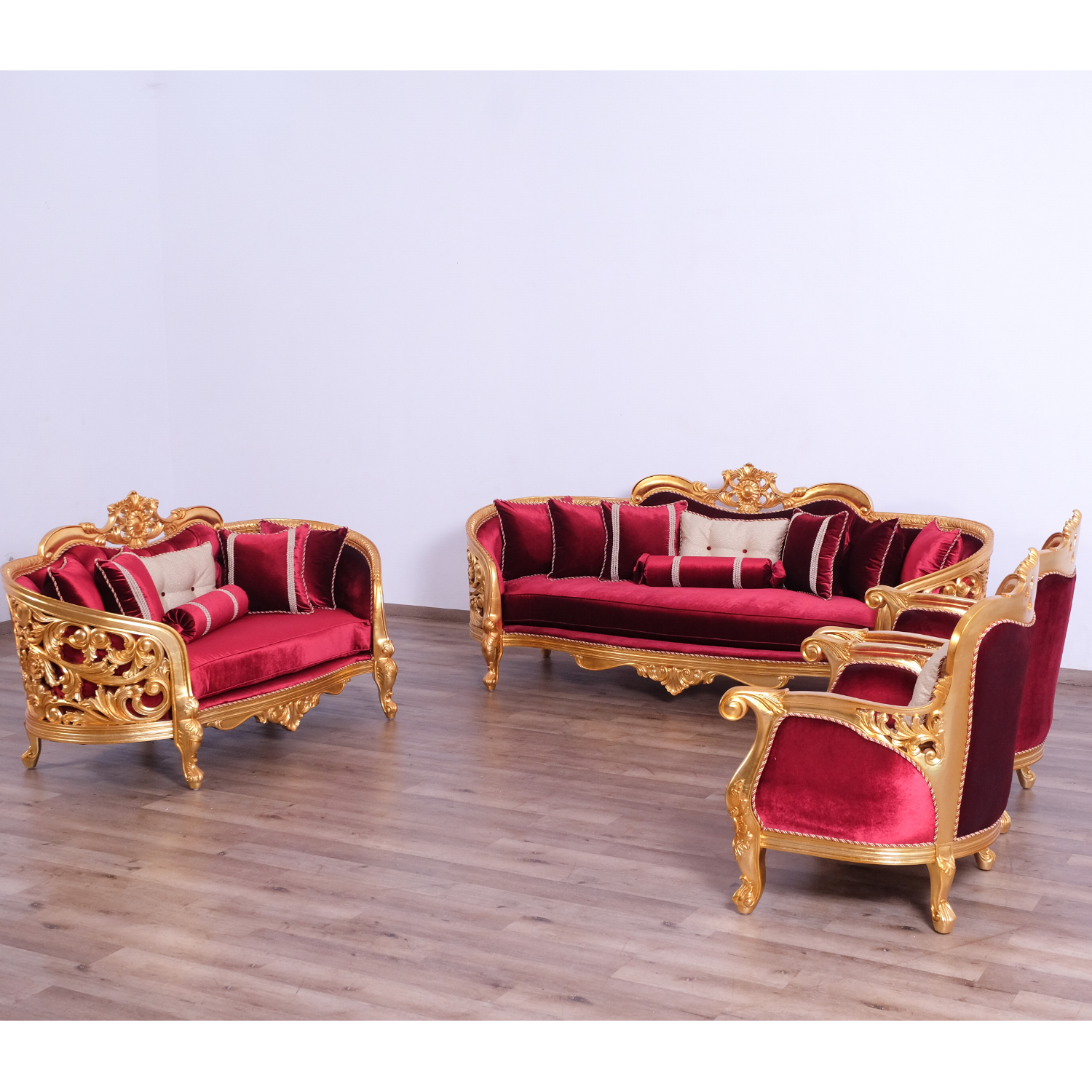 Awe Inspiring Bellagio Ii Sofa In Gold Leaf Mahogany Red Velvet By Grand European Luxury Furniture Machost Co Dining Chair Design Ideas Machostcouk