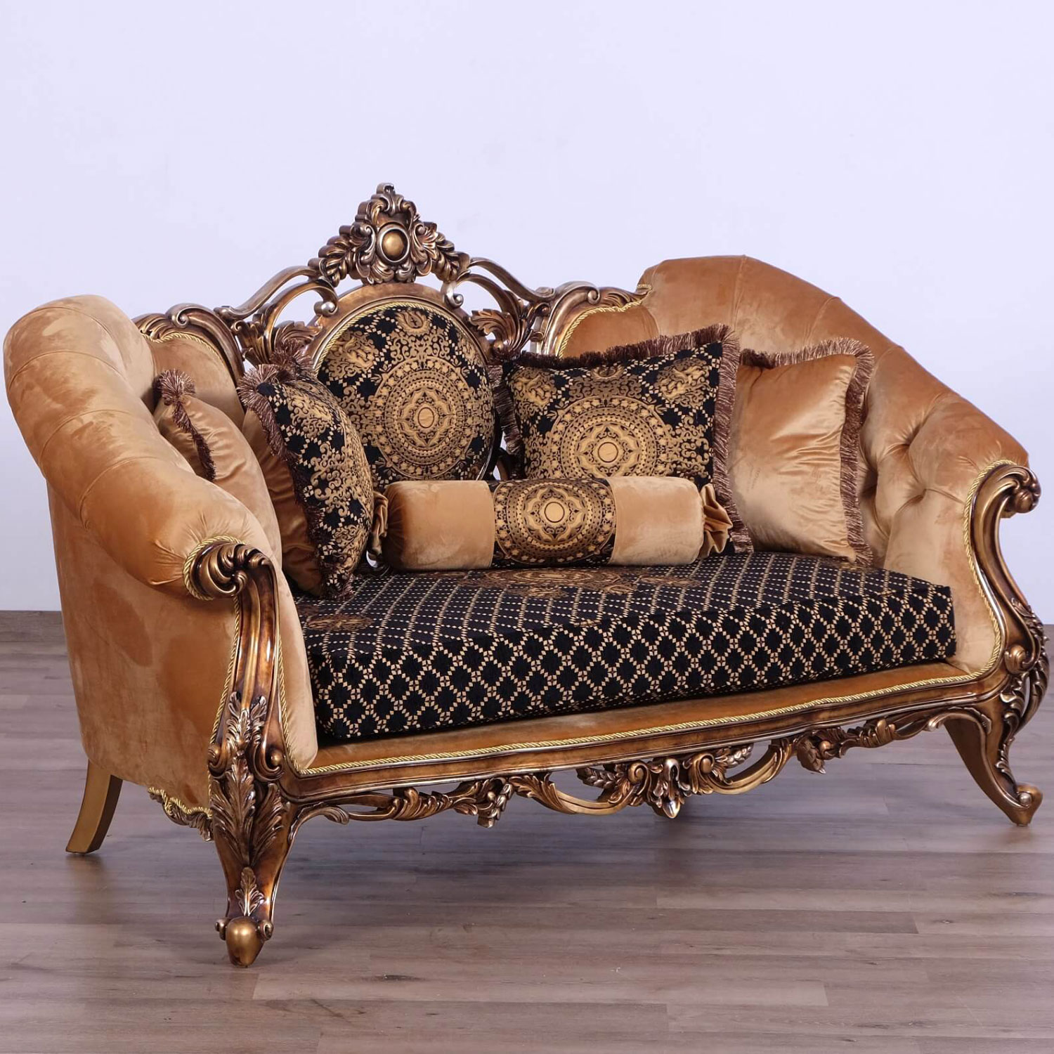 Prime Rosella Loveseat In Jacquard Fabric On Ornate Bronze Mahogany By Grand European Luxury Furniture Gmtry Best Dining Table And Chair Ideas Images Gmtryco