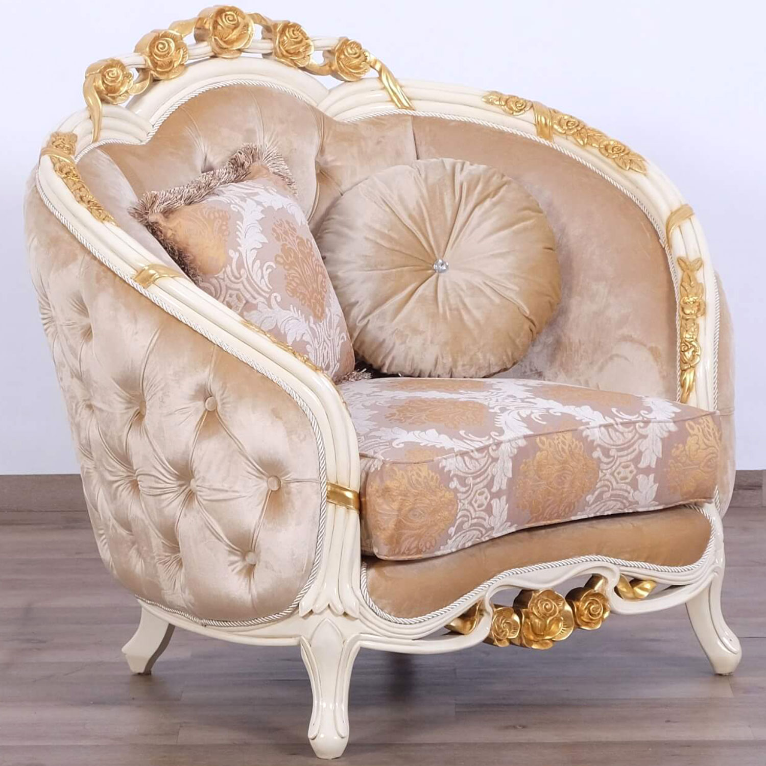 Pleasing Valentine Chair Half In Beige Fabric On Ornate Gold Leaf Mahogany By Grand European Luxury Furniture Gmtry Best Dining Table And Chair Ideas Images Gmtryco