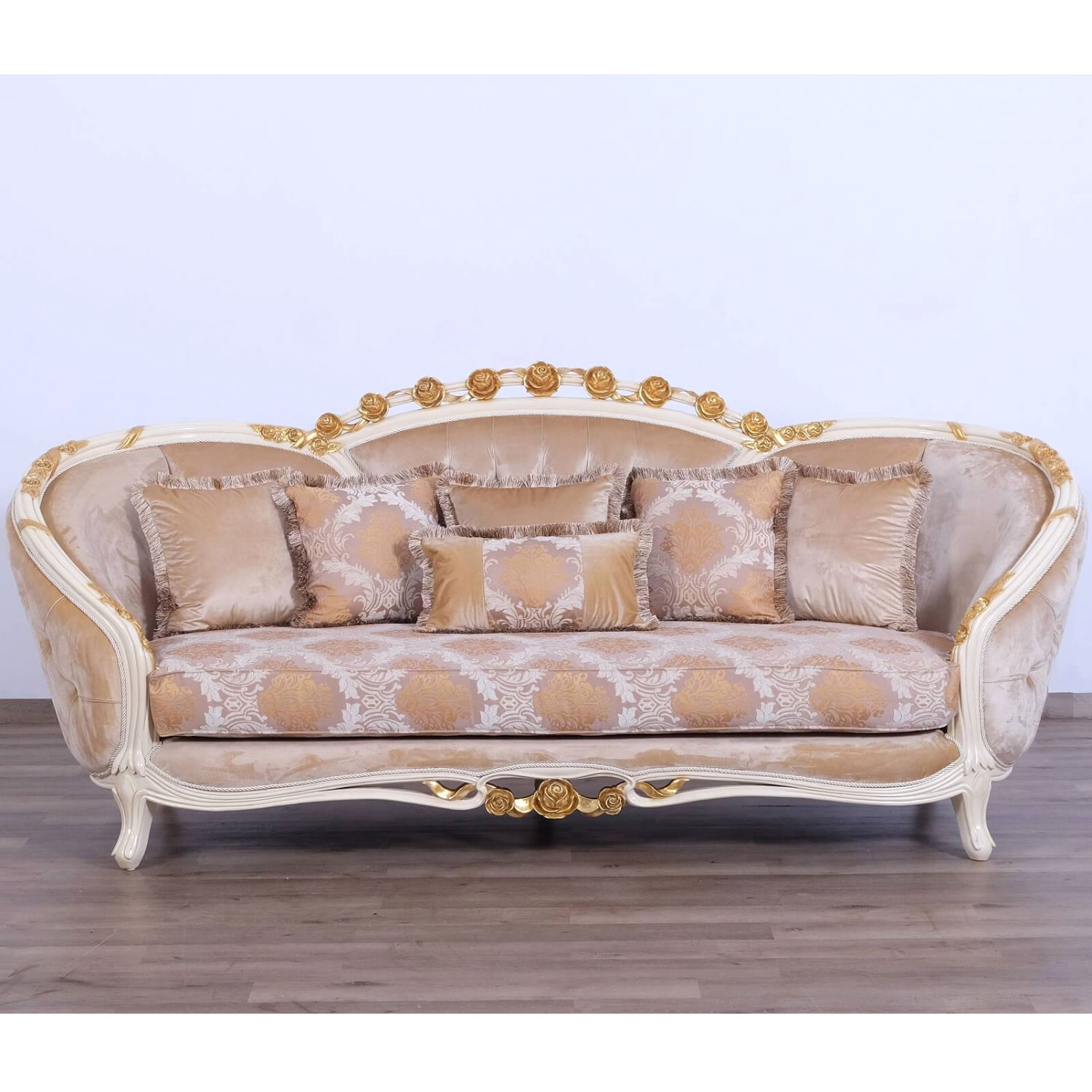 Cool Valentine Sofa In Beige Fabric On Ornate Gold Leaf Mahogany By Grand European Luxury Furniture Gmtry Best Dining Table And Chair Ideas Images Gmtryco