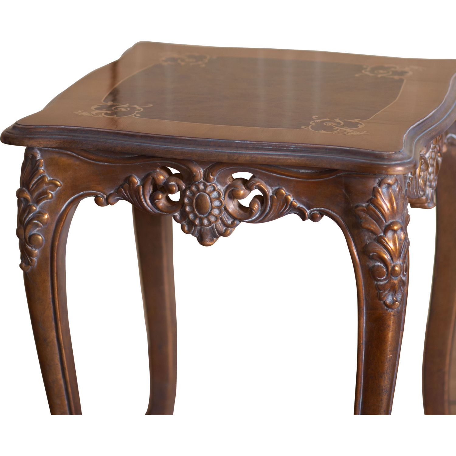 Victorian End Table Grand European Luxury Furniture 33091-ET Victorian End Table in Antique  Dark Bronze Mahogany