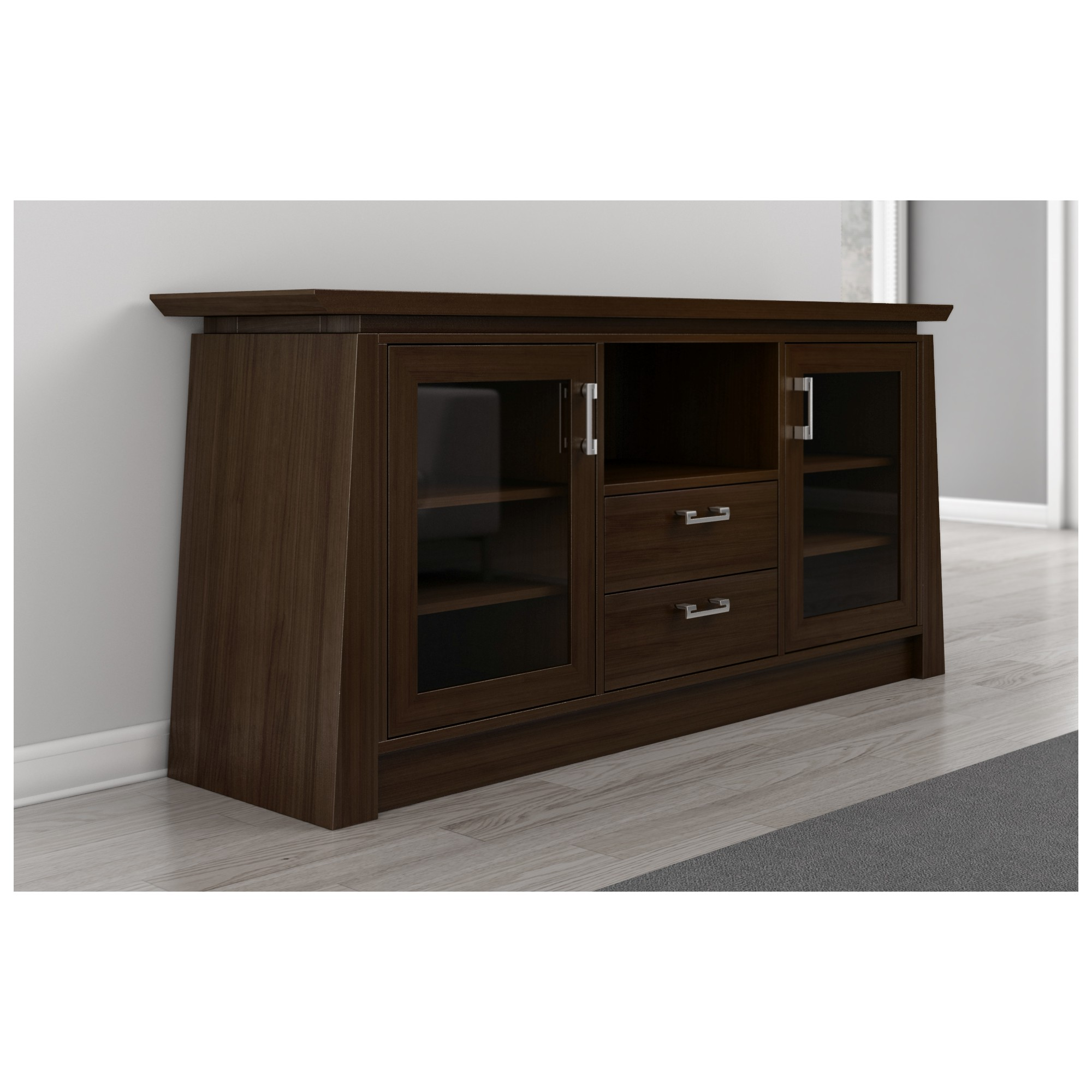70 Tv Stand Asian Style Media Cabinet W Center Speaker Opening In Chocolate By Furnitech