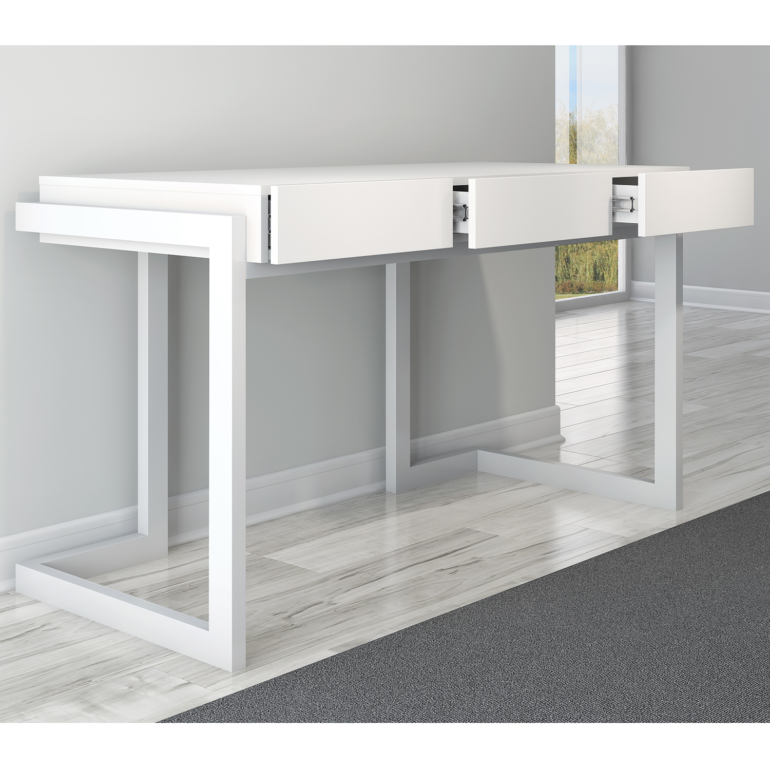 Furnitech Ft56cw W 56 Contemporary Writing Desk In Textured Matte White