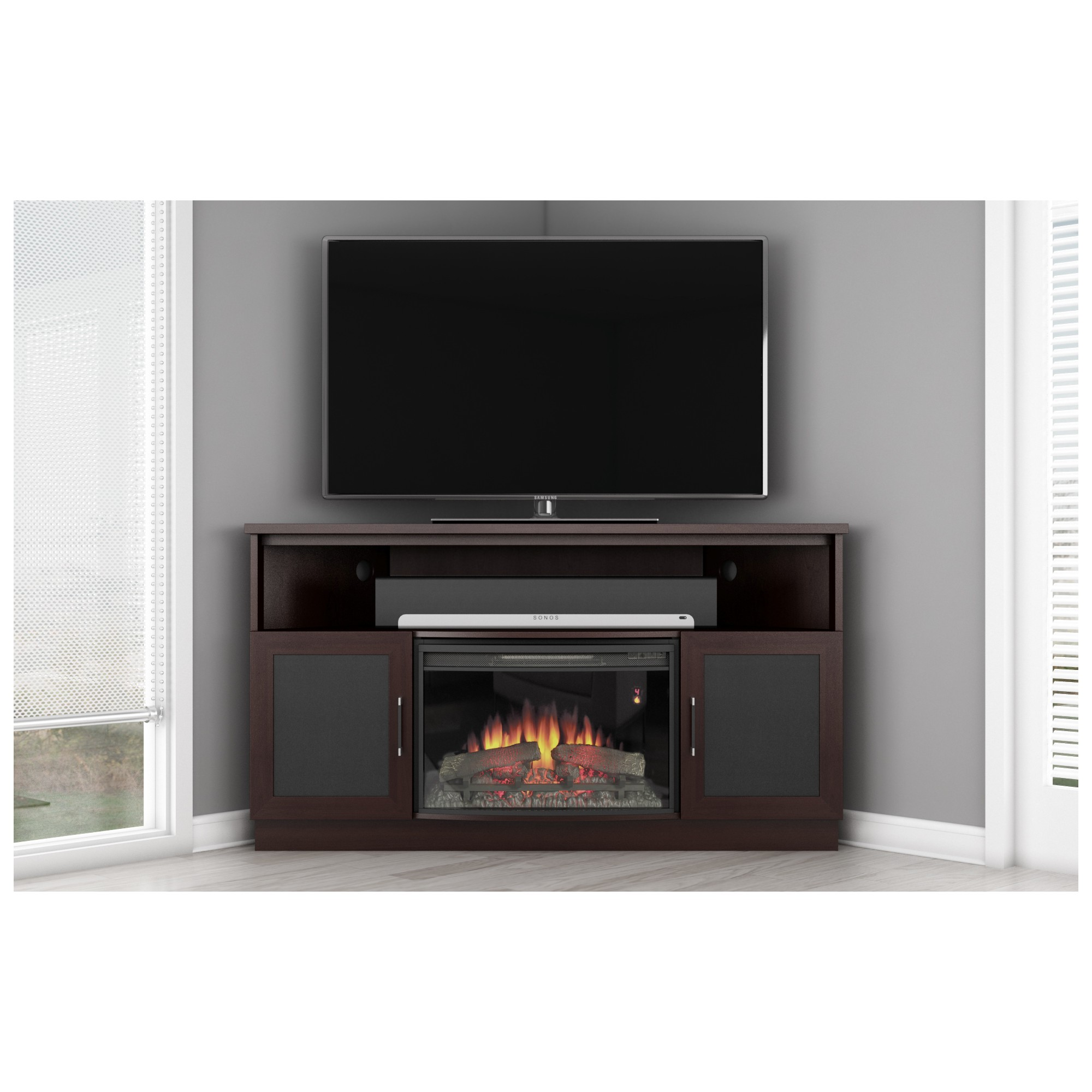 60 Tv Stand Contemporary Corner Cabinet W Electric Fireplace In Wenge By Furnitech