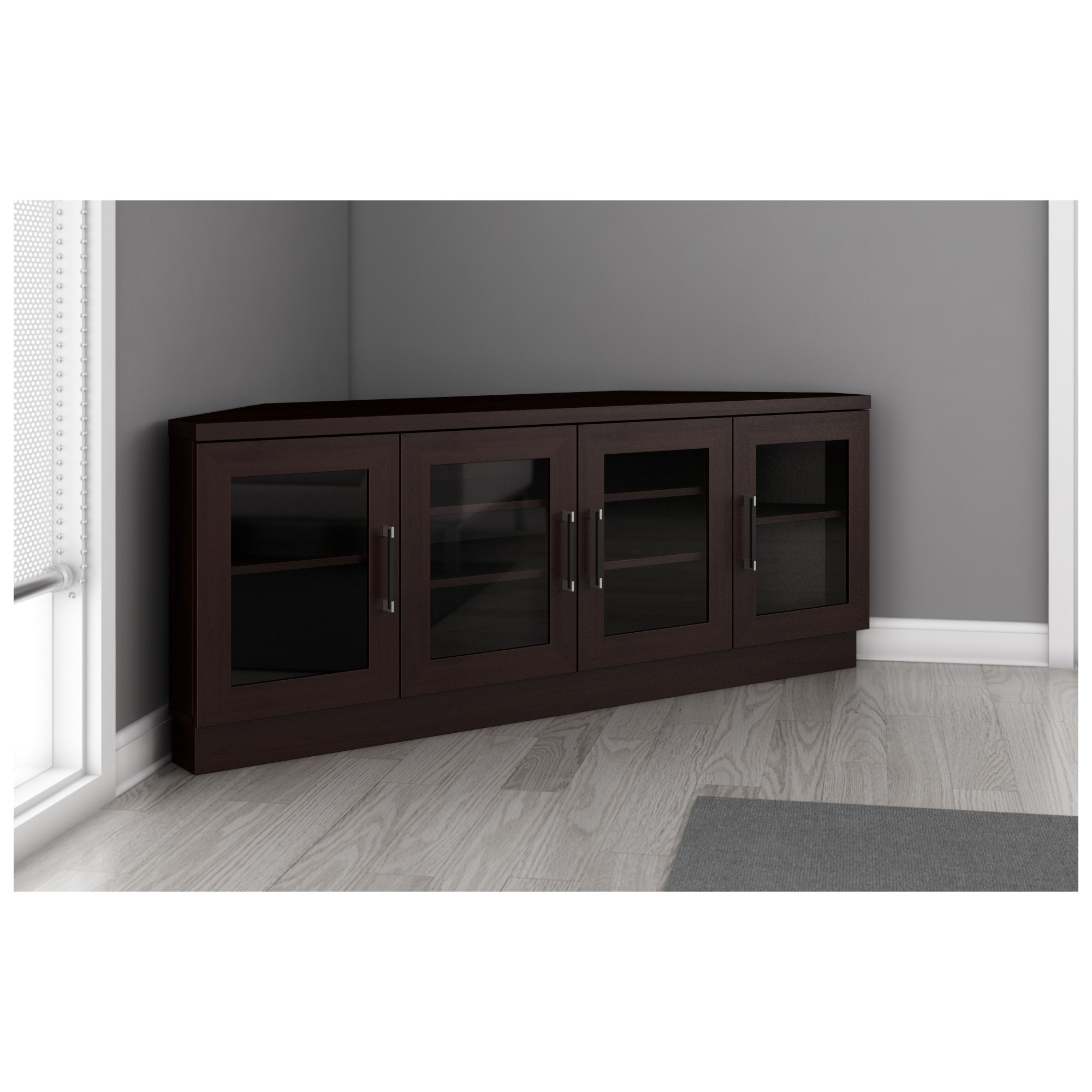 furnitech ftcccw  tv stand contemporary corner media cabinet  -  tv stand contemporary corner media cabinet in wenge