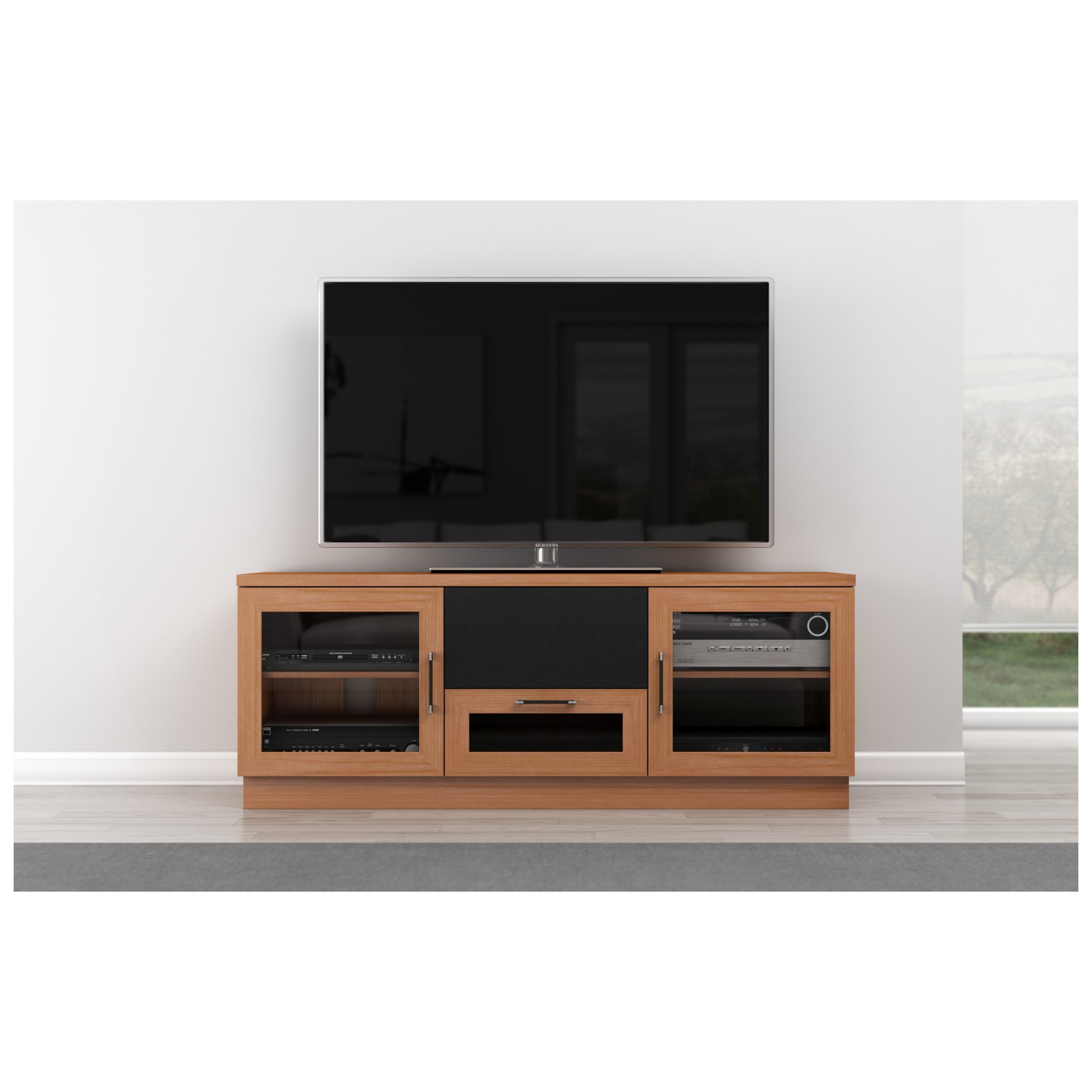 furnitech ftccnc  tv stand contemporary media cabinet w  -  tv stand contemporary media cabinet w center speaker opening innatural cherry