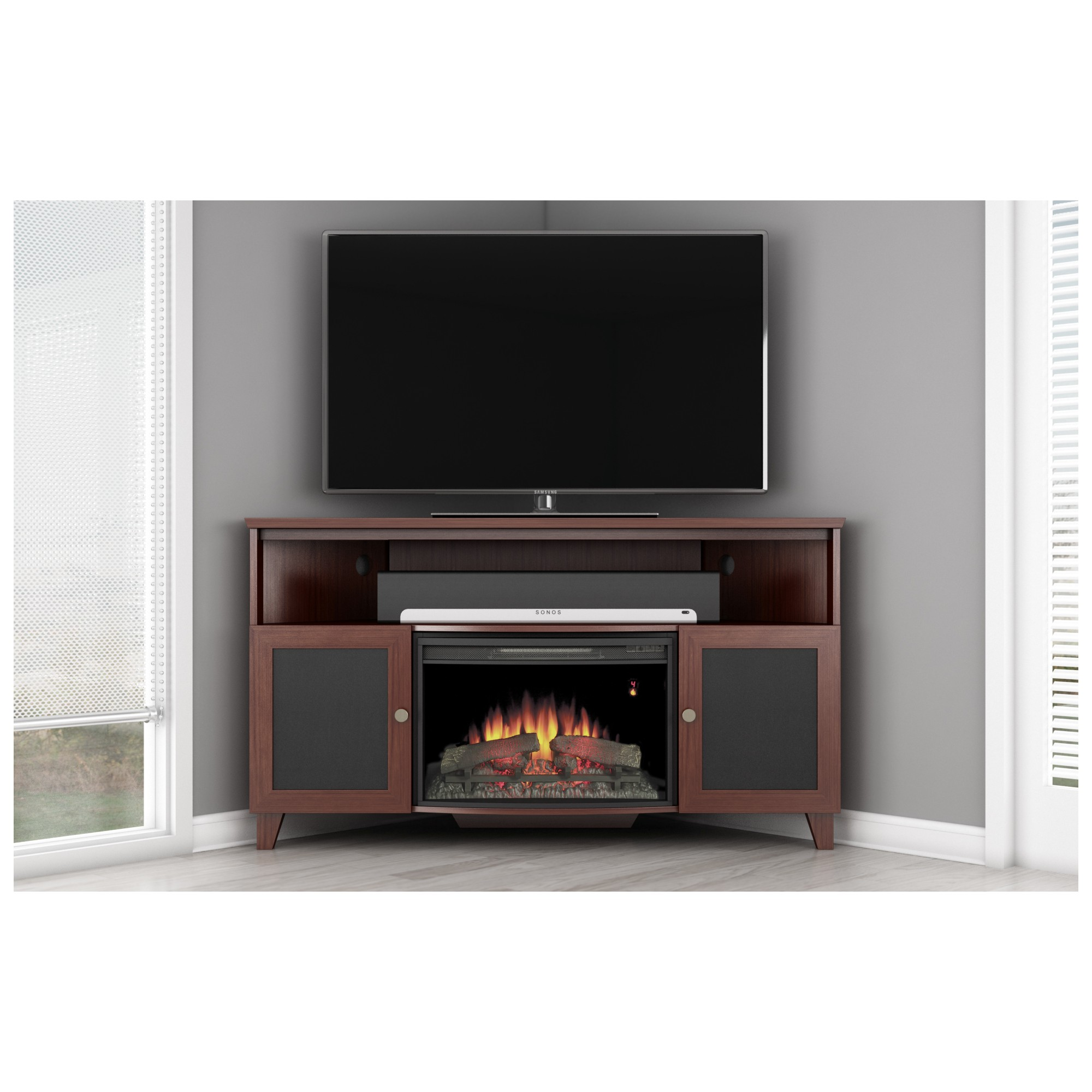 flat walker brown with console ideas tv of in inch fireplace outstanding corner stand wood edison for stands screens electric traditional inspirational trends screen including