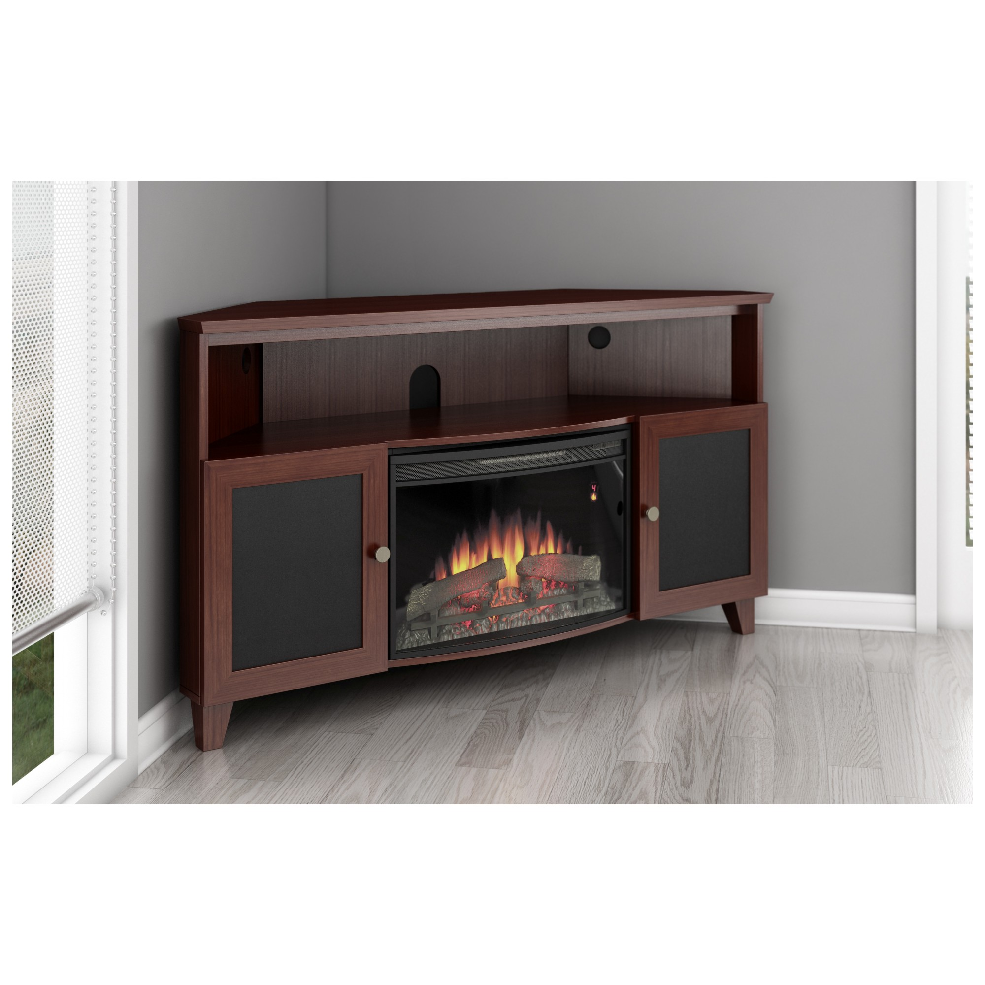 Gallery For Corner Electric Fireplace Cherry