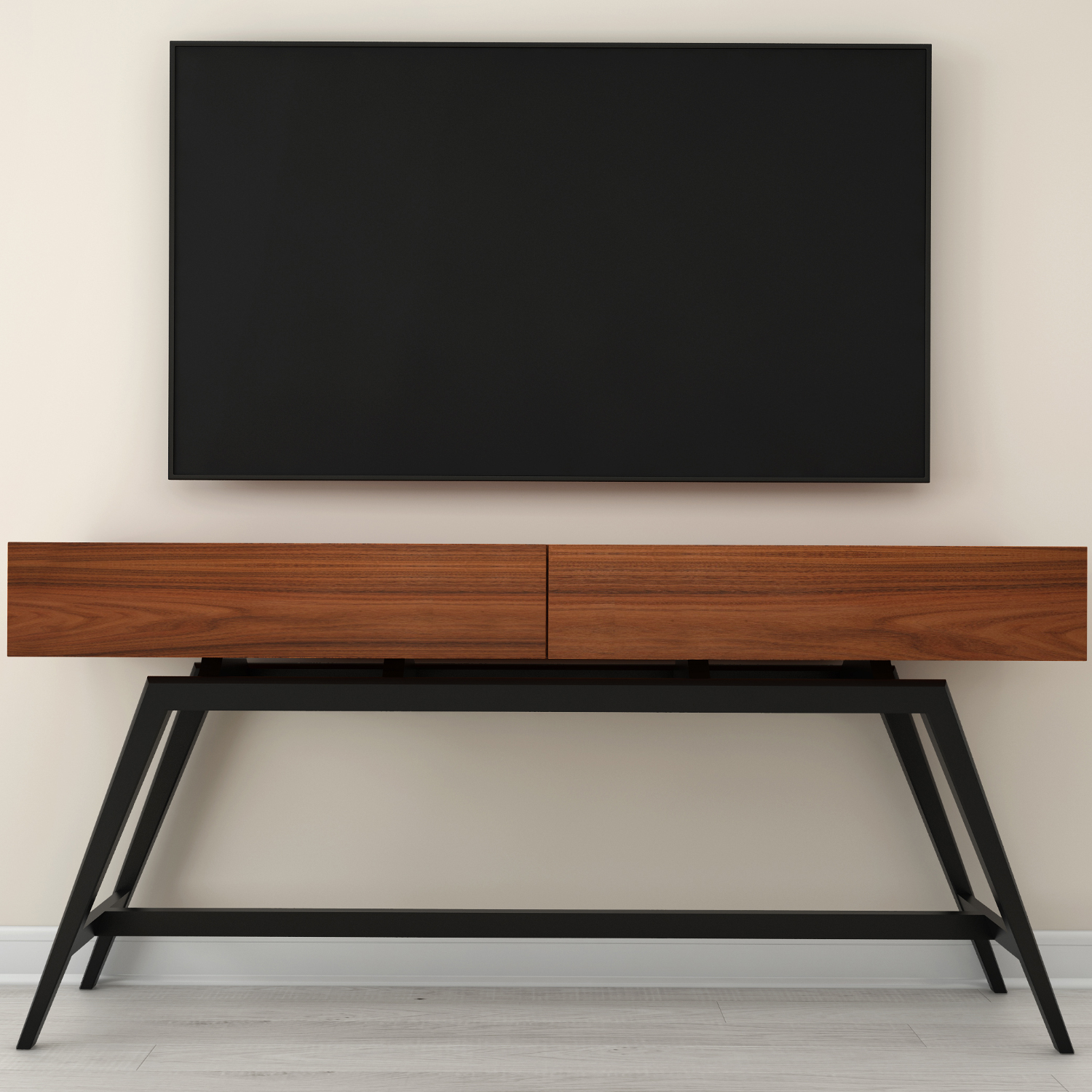 Picture of: Furnitech Ft63mmpf 63 Mid Century Modern Console In Iron Wood Black