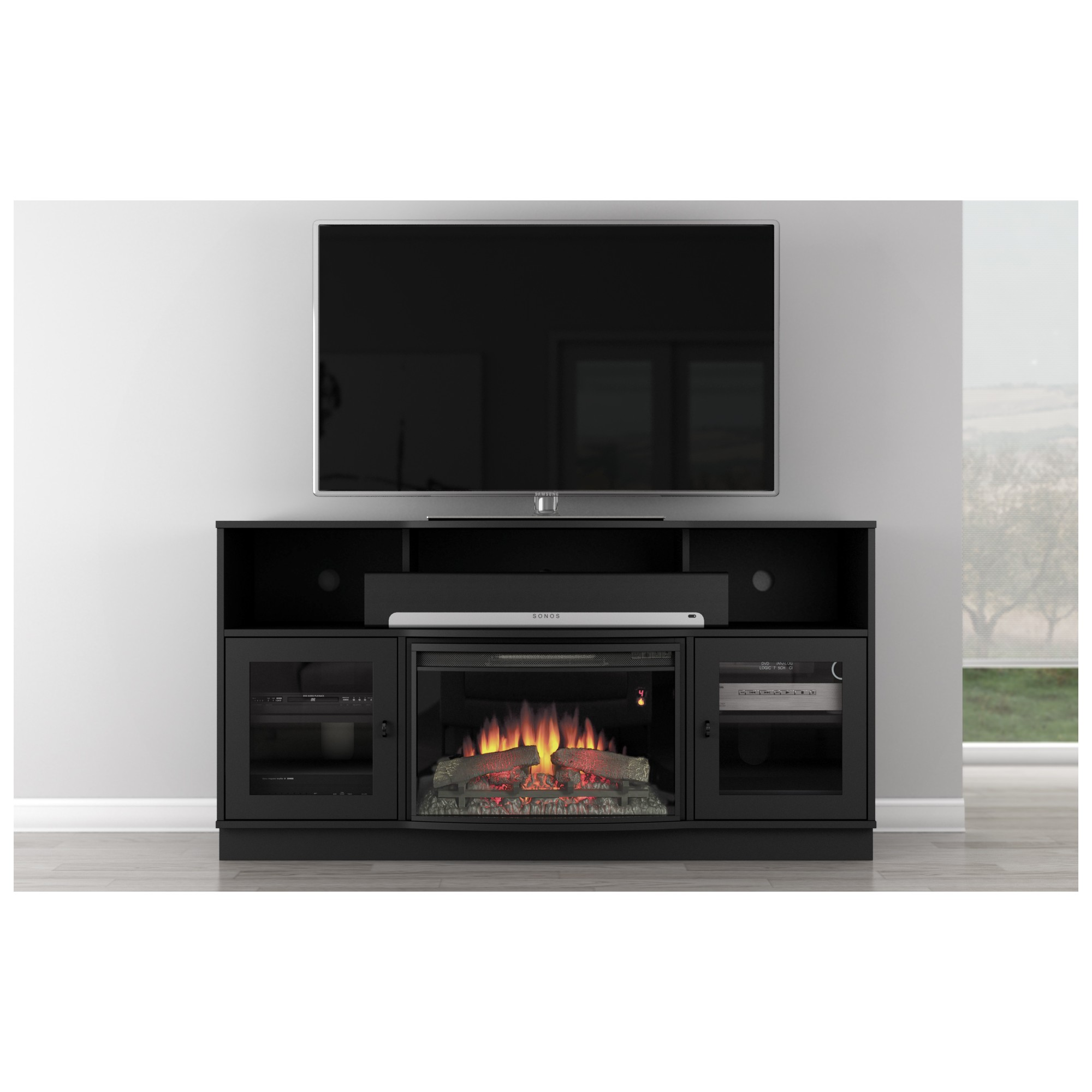 furnitech ft64cf b 66 tv stand contemporary w curved front electric fireplace in black. Black Bedroom Furniture Sets. Home Design Ideas