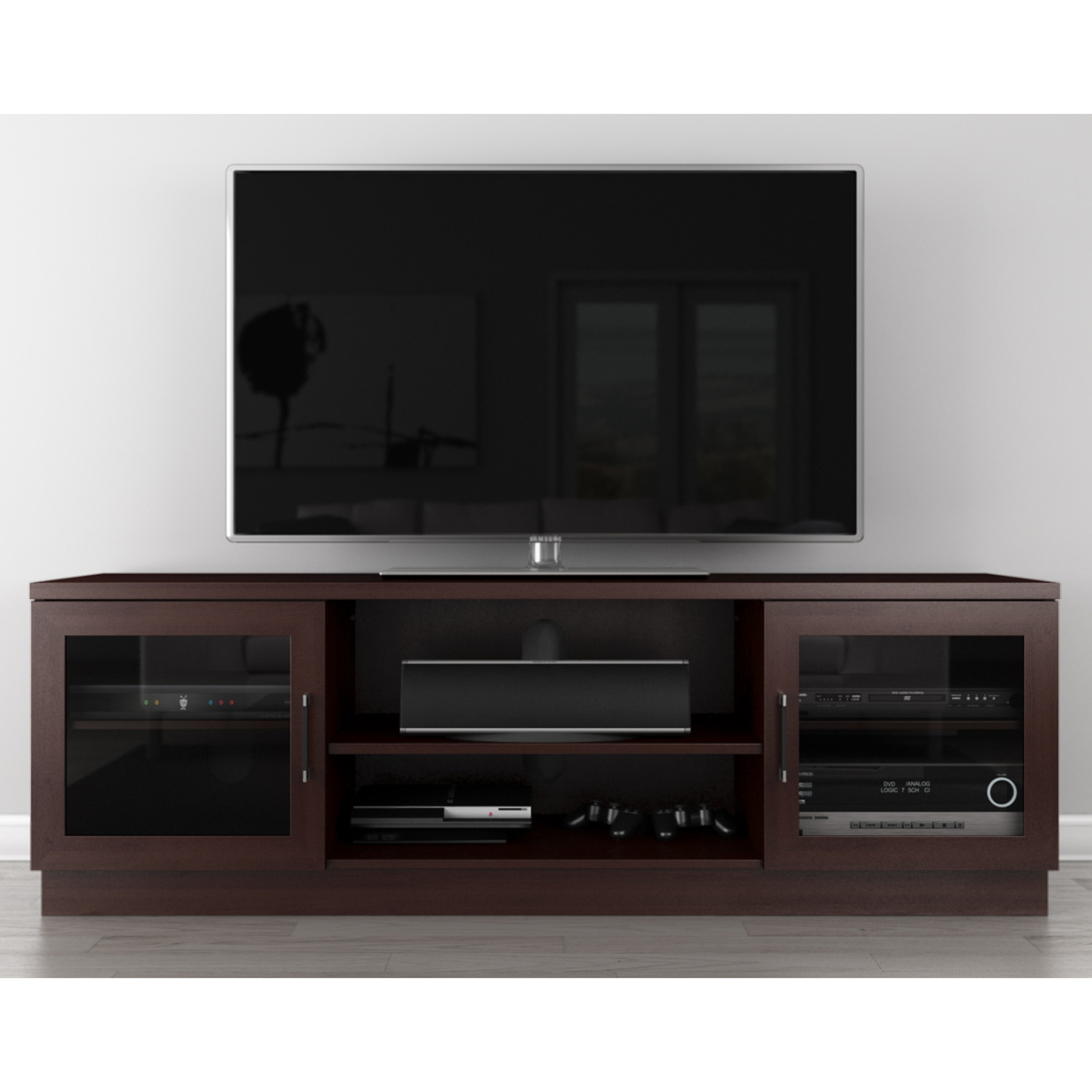 Furnitech Ft70cc W 70 Quot Tv Stand Contemporary Media Cabinet