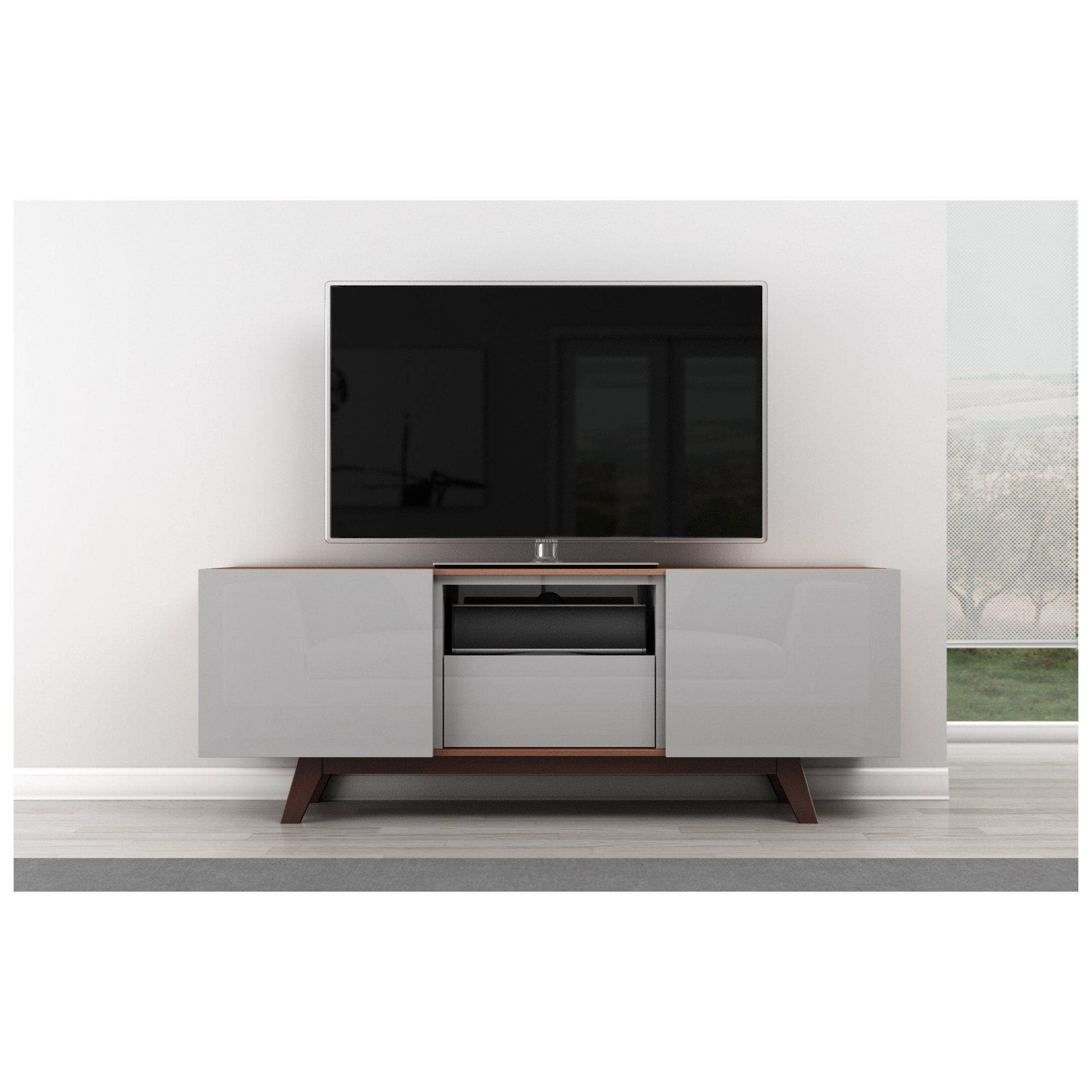 Furnitech Ft70r Ft70r 70 Quot Tv Stand Modern Media Cabinet W