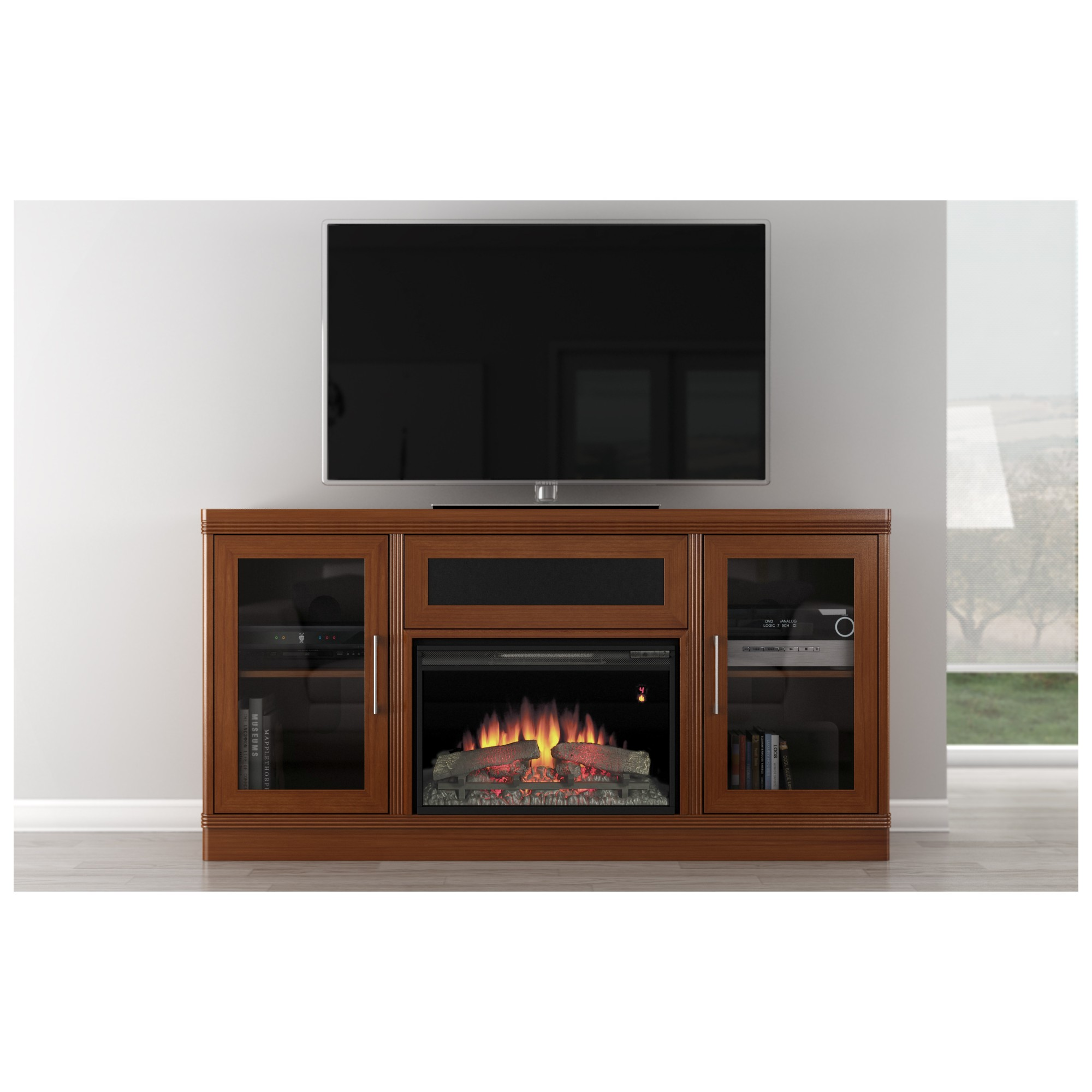 Furnitech Ft70trfb 70 Tv Stand Transitional Style W Classic Flame Electrical Fireplace In