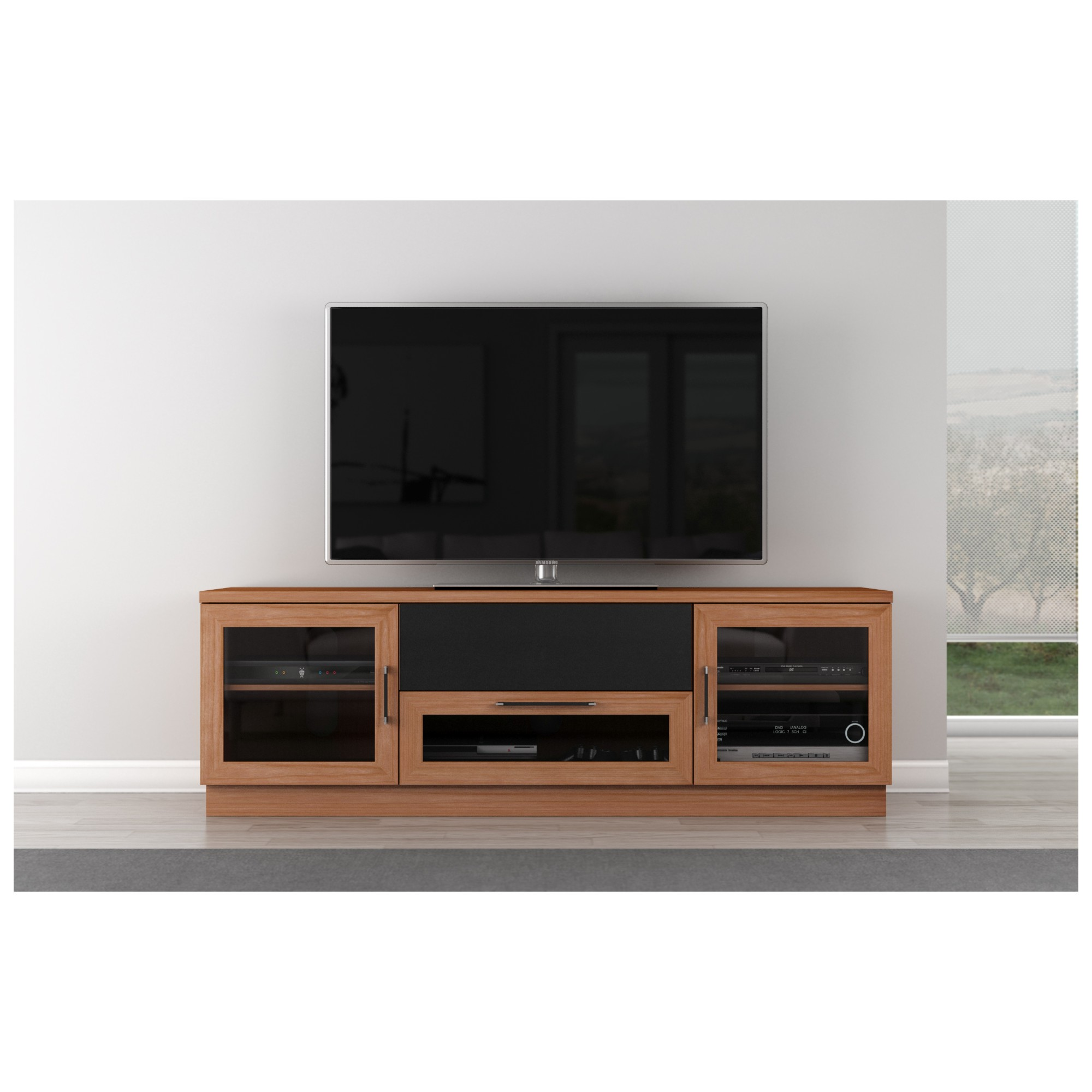 Furnitech Ft72cc Nc 70 Tv Stand Contemporary Media Cabinet W
