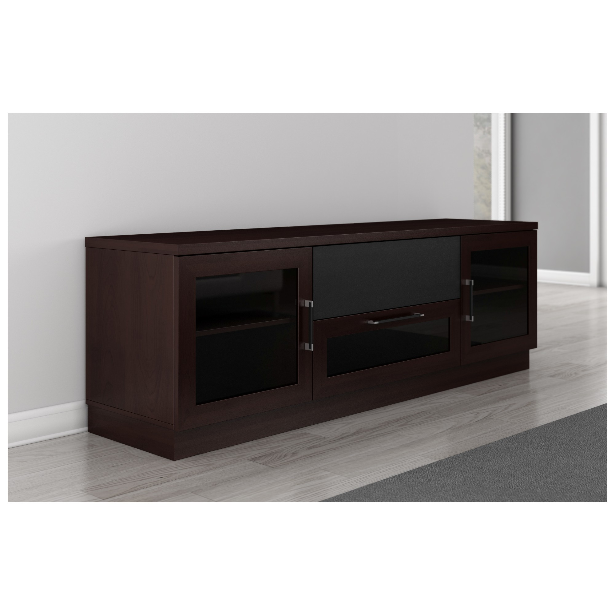 furnitech ftccw  tv stand contemporary media cabinet w  -  tv stand contemporary media cabinet w center speaker opening in wenge