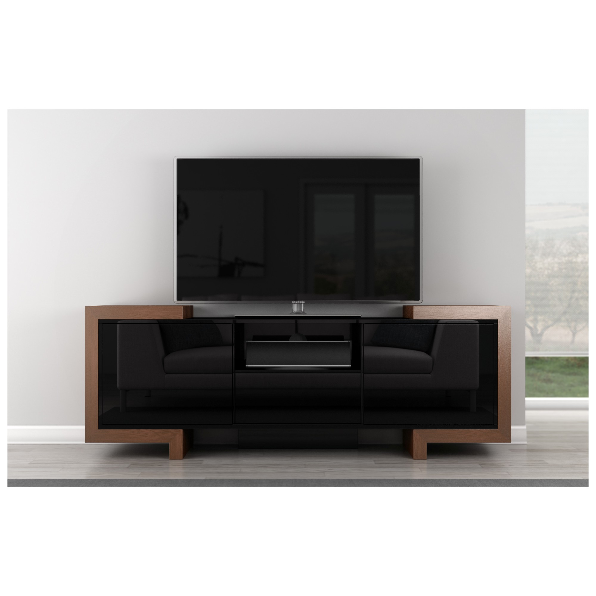 furnitech ftfa  tv stand contemporary media cabinet in high  - furnitech  tv stand contemporary media cabinet in high gloss blacklacquer  oak