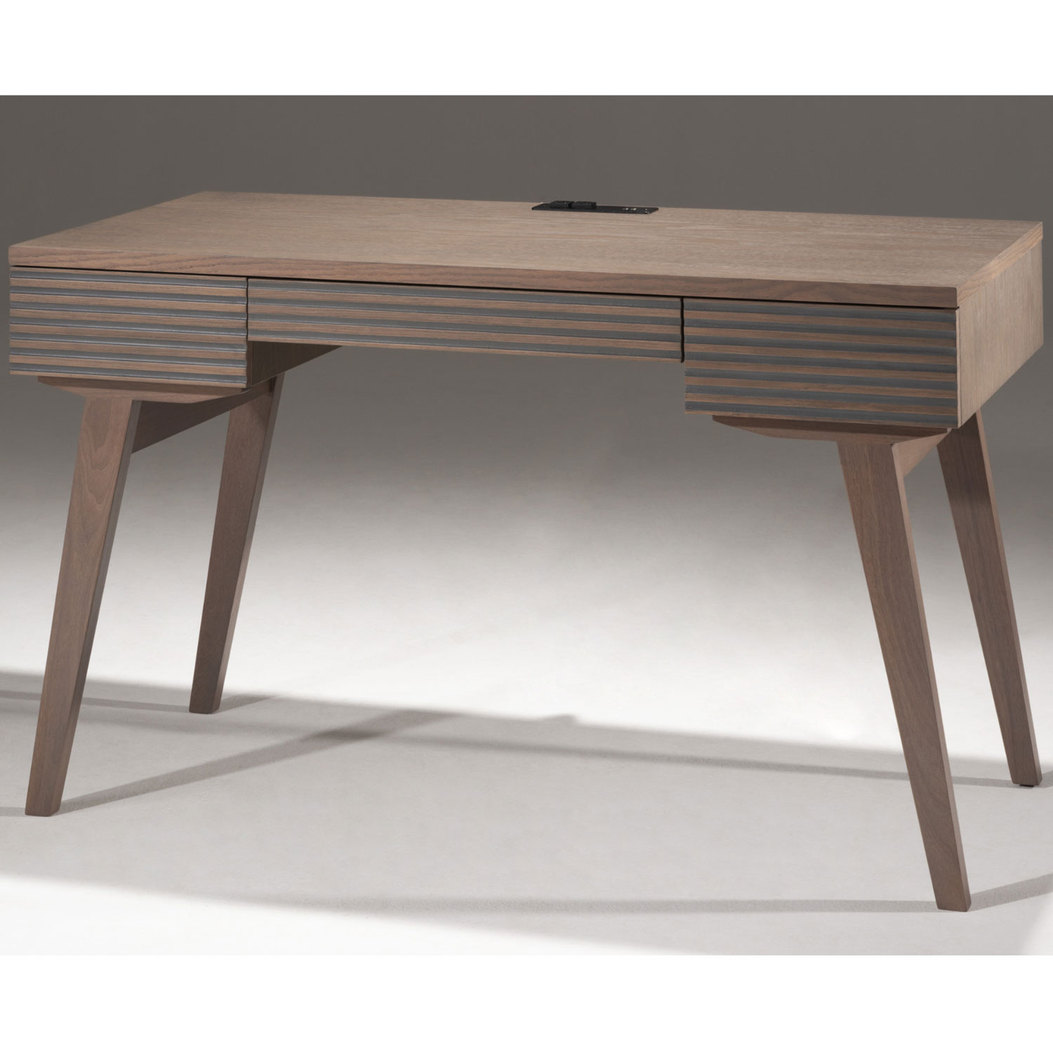 Image of: Furnitech Tango Dk48cg 48 Mid Century Modern Writing Desk In Grey Brazilian Cherry