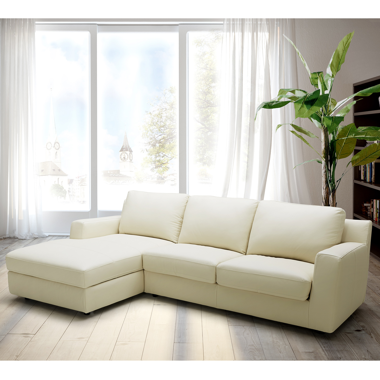 Jenny Sectional Sofa Sleeper W/ Left Facing Chaise In Premium Leather