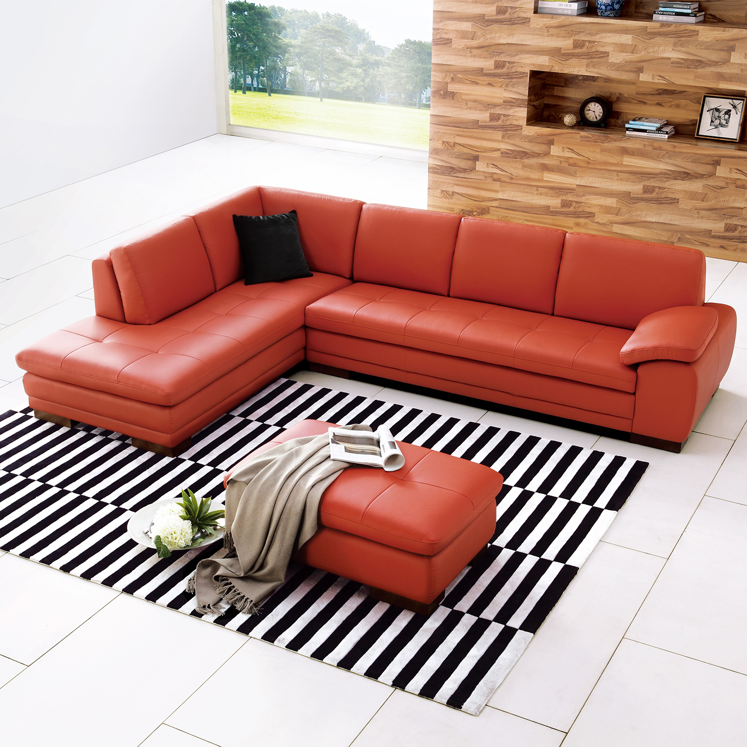 image p top grain orange full sectional modern italian sofa leather
