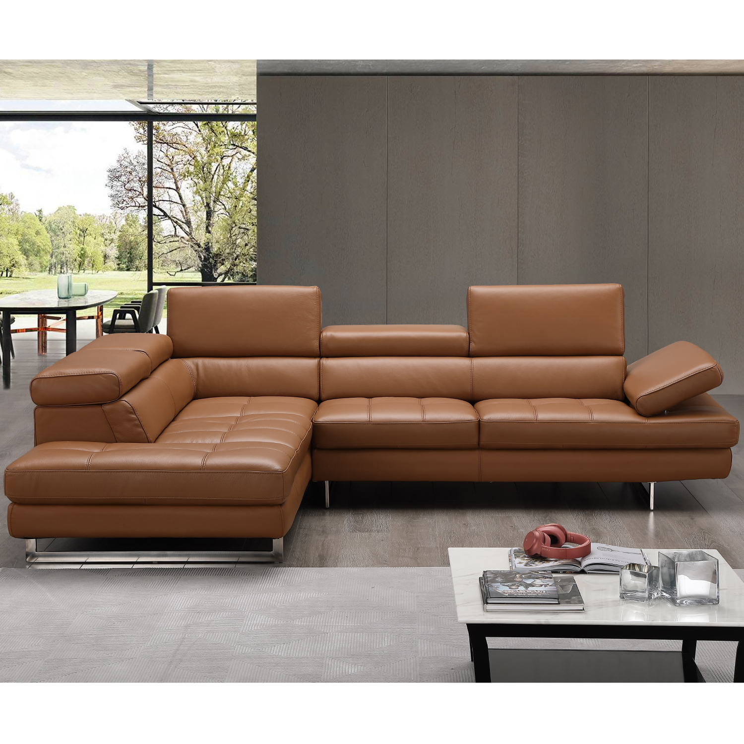Peachy Napoli A761 Italian Leather Sectional In Caramel W Left Facing Chaise By J And M Furniture Machost Co Dining Chair Design Ideas Machostcouk
