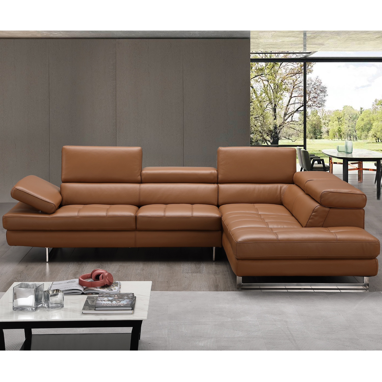 Prime Napoli A761 Italian Leather Sectional In Caramel W Right Facing Chaise By J And M Furniture Machost Co Dining Chair Design Ideas Machostcouk