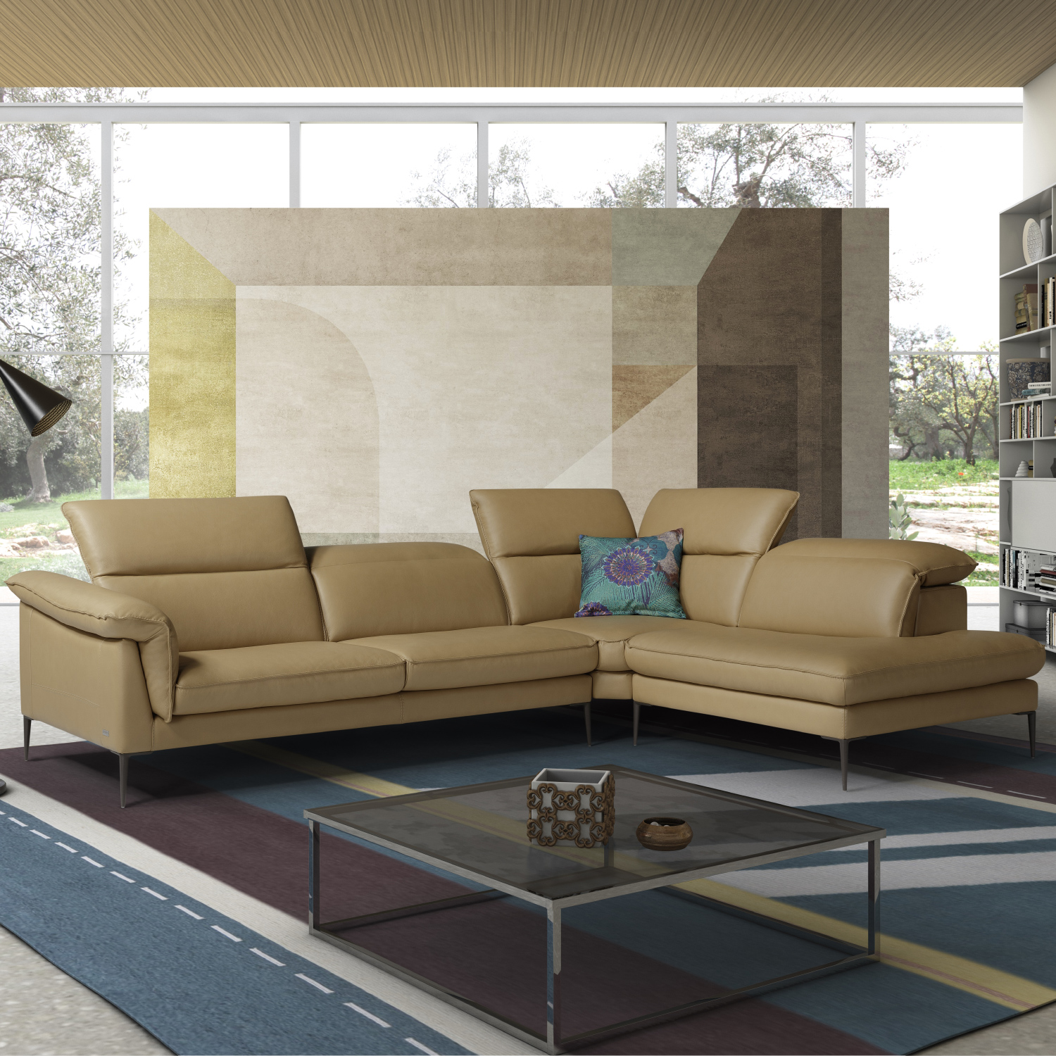 Excellent Eden Sectional Sofa W Right Facing Chaise In Miele Honey Premium Leather By J And M Furniture Gmtry Best Dining Table And Chair Ideas Images Gmtryco