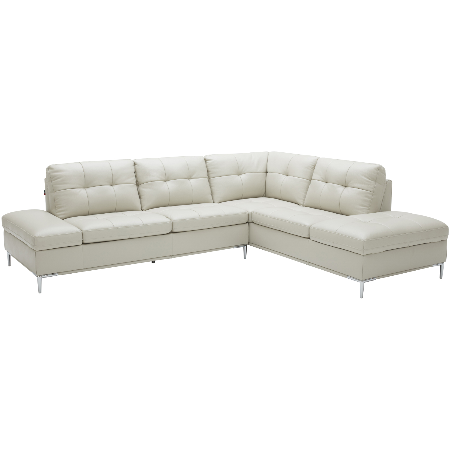 Terrific Leonardo Sectional Sofa W Right Hand Facing Chaise In Light Grey Leather By J And M Furniture Short Links Chair Design For Home Short Linksinfo