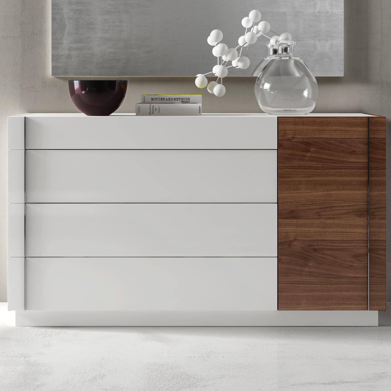 Lisbon Dresser In Walnut Veneer White W Gl By J And M Furniture