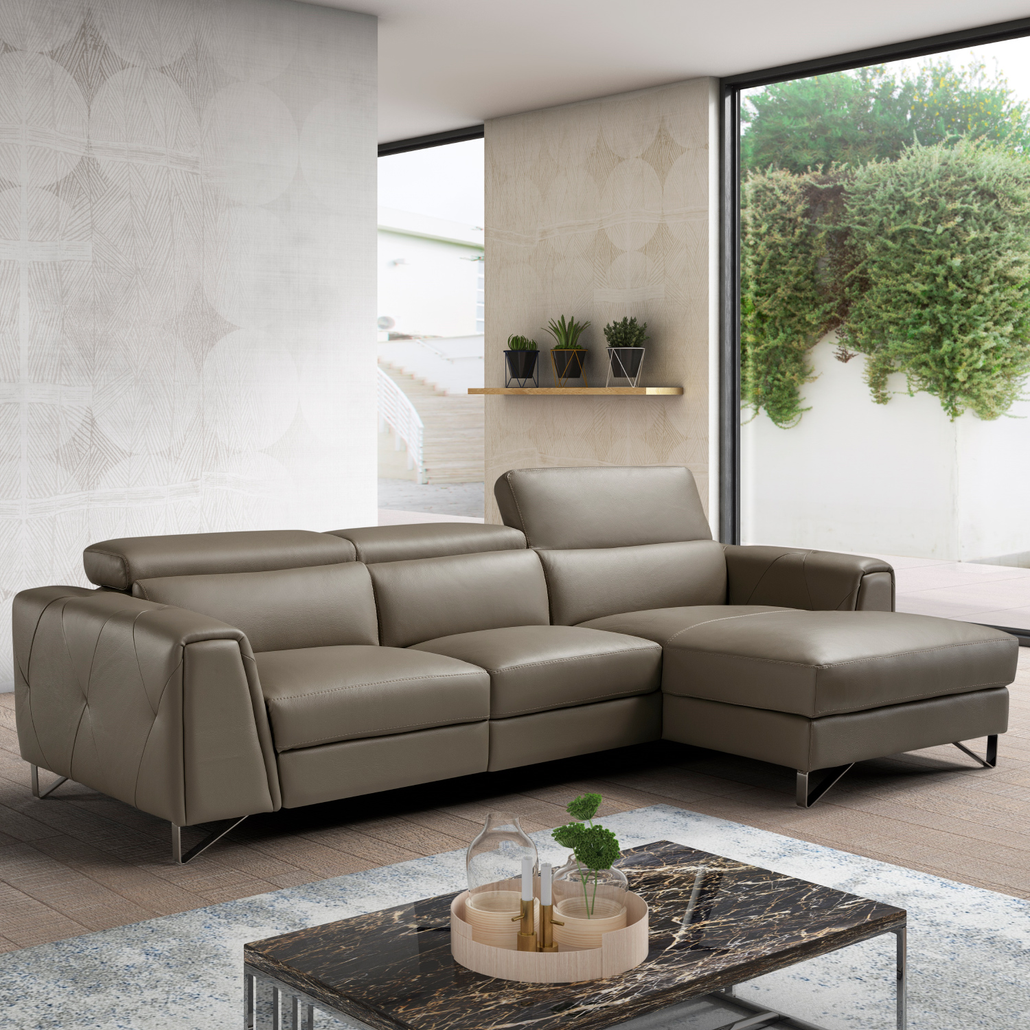 Fabulous Magic Reclining Sectional Sofa W Right Facing Chaise In Taupe Italian Leather By J And M Furniture Short Links Chair Design For Home Short Linksinfo