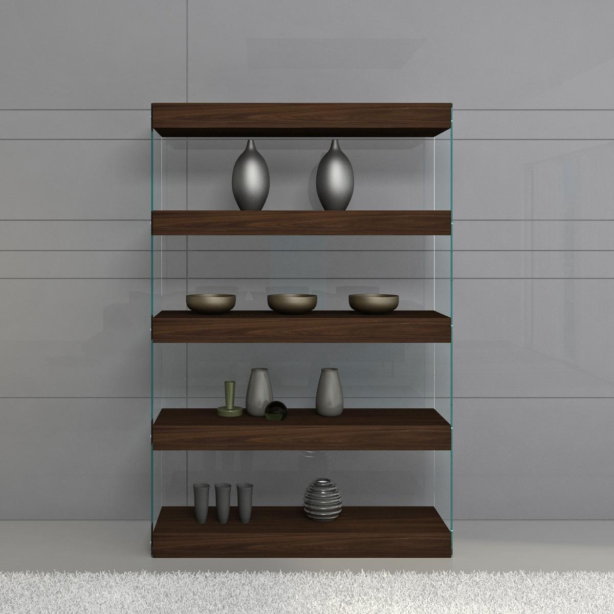 Jm Furnishings 17705 Float Curio Wall Unit Bookcase In