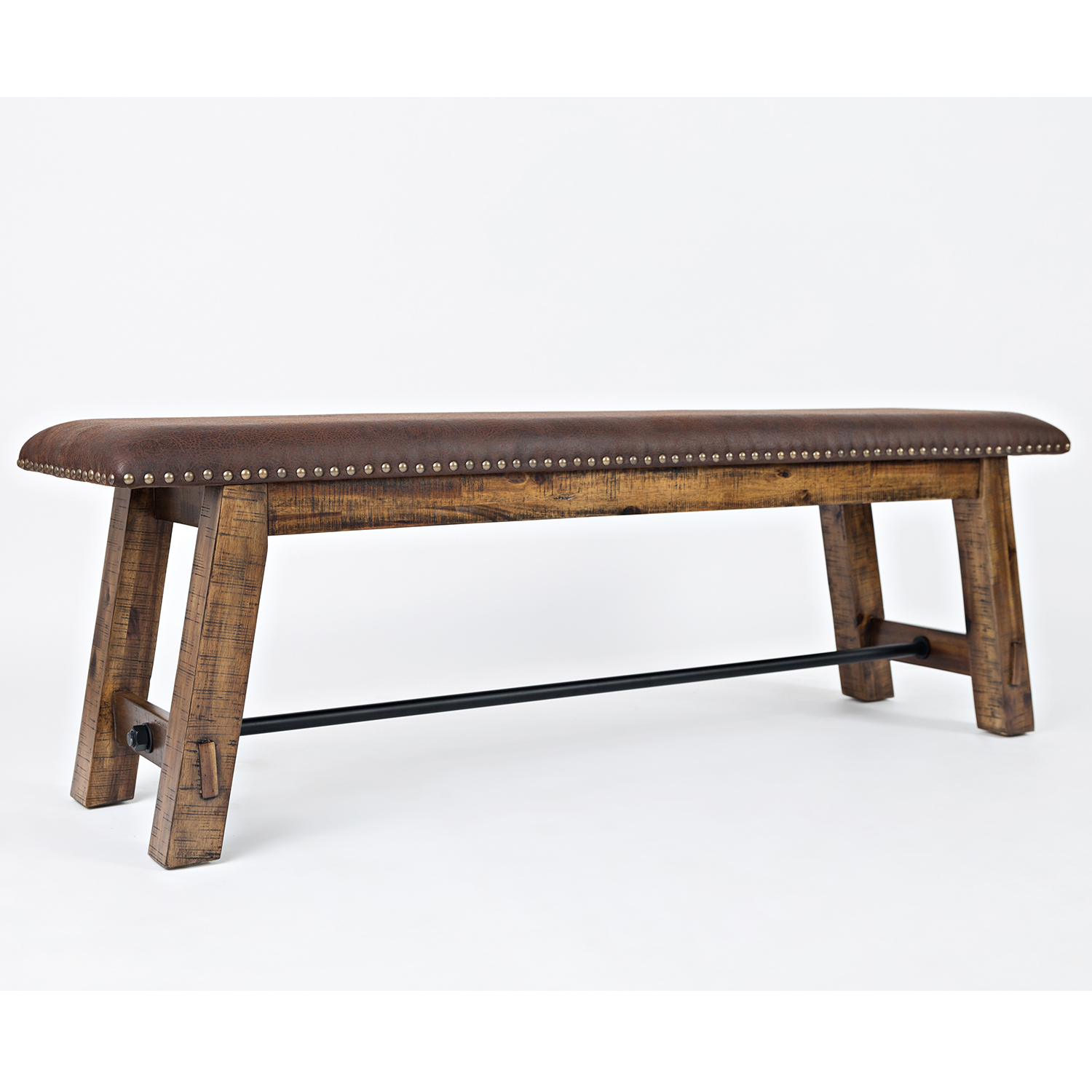 Jofran Cannon Valley Dining Bench In Distressed Wood W/ Leatherette Seat