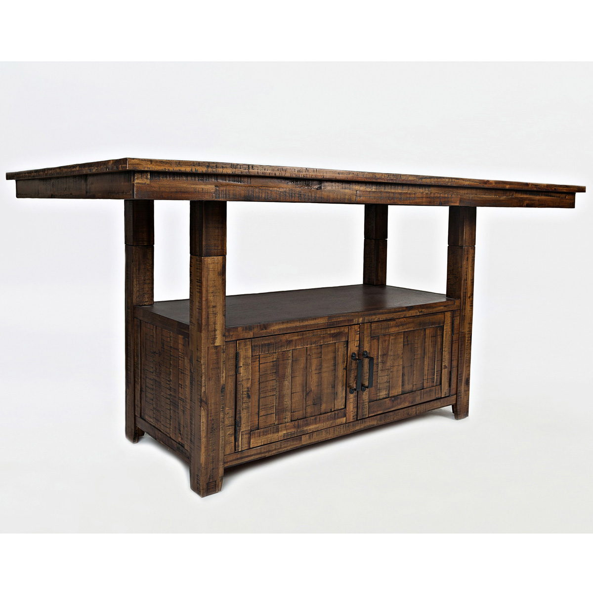 Cannon Valley Dining Table W/ Storage Base In Distressed Acacia