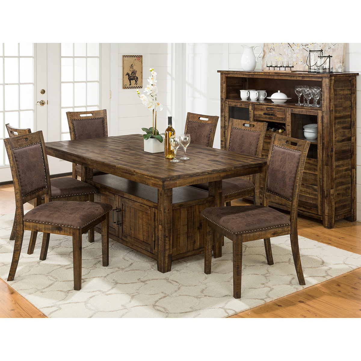 Cannon valley dining table w storage base in distressed acacia by jofran tap to expand