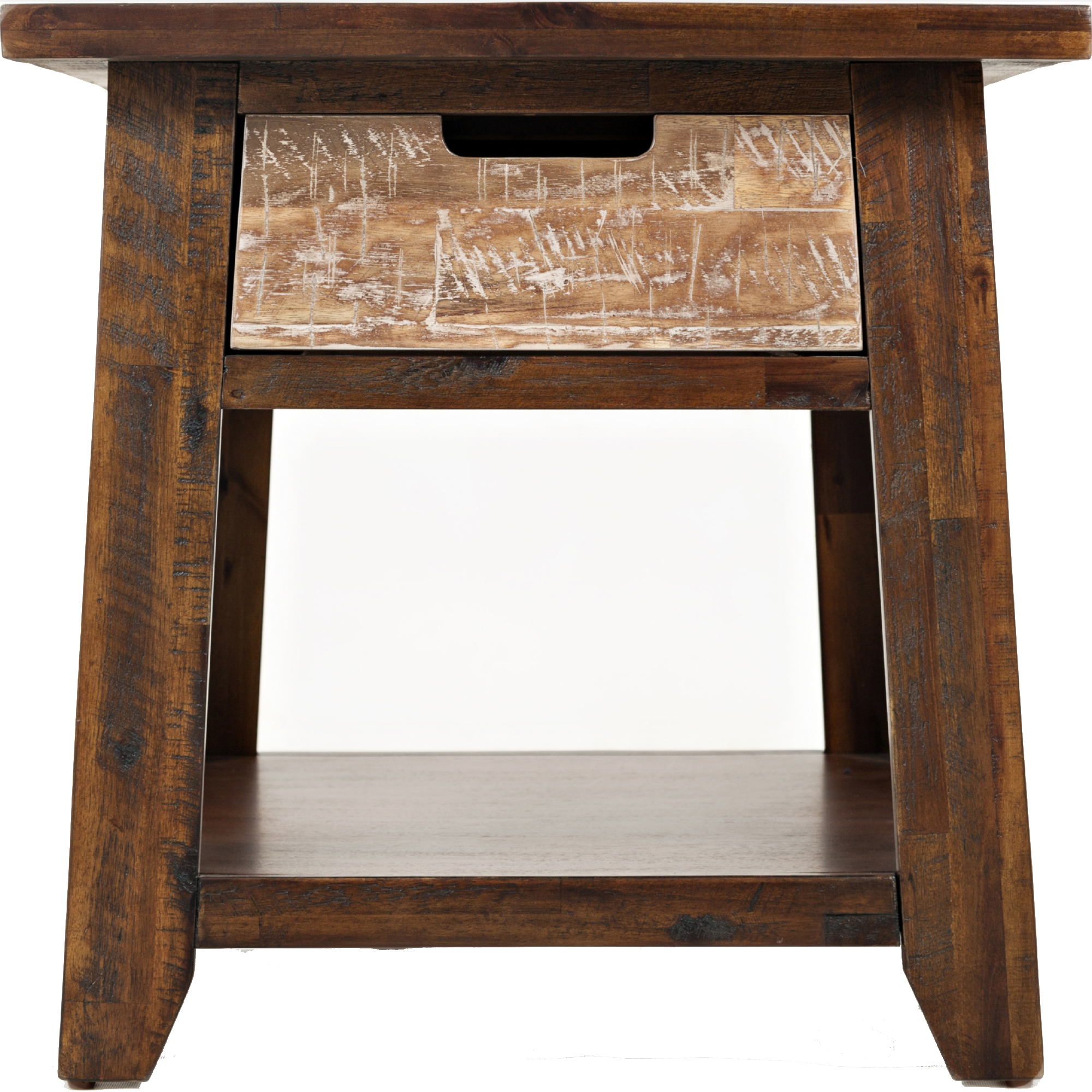 Painted Canyon End Table W/ Drawer U0026 Shelf In Distressed Acacia