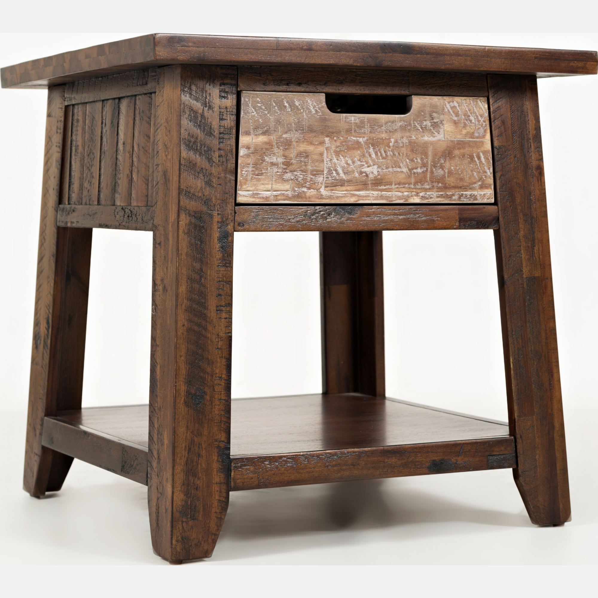 End table with drawer - Painted Canyon End Table W Drawer Shelf In Distressed Acacia