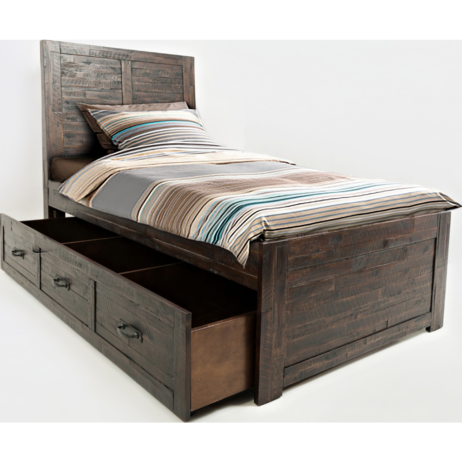 Twin bed with trundle - Jackson Lodge Twin Bed W Trundle In Distressed Finish
