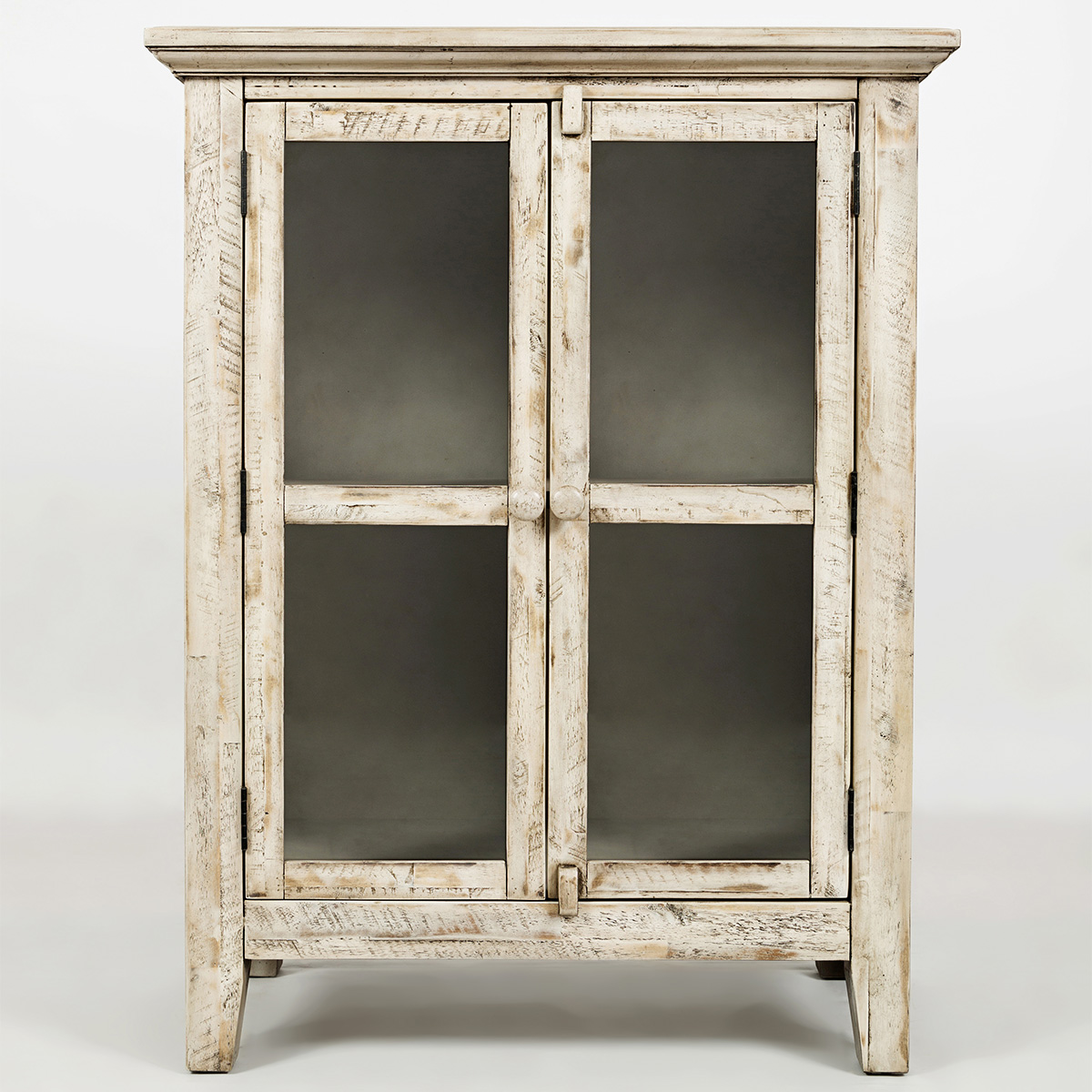 Accent cabinet with glass doors - Rustic Shores Scrimshaw 32 Accent Cabinet In Distressed Cream W Glass Doors