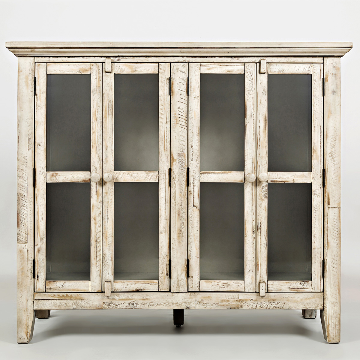 Accent cabinet with glass doors - Rustic Shores Scrimshaw 48 Accent Cabinet In Distressed Cream W Glass Doors